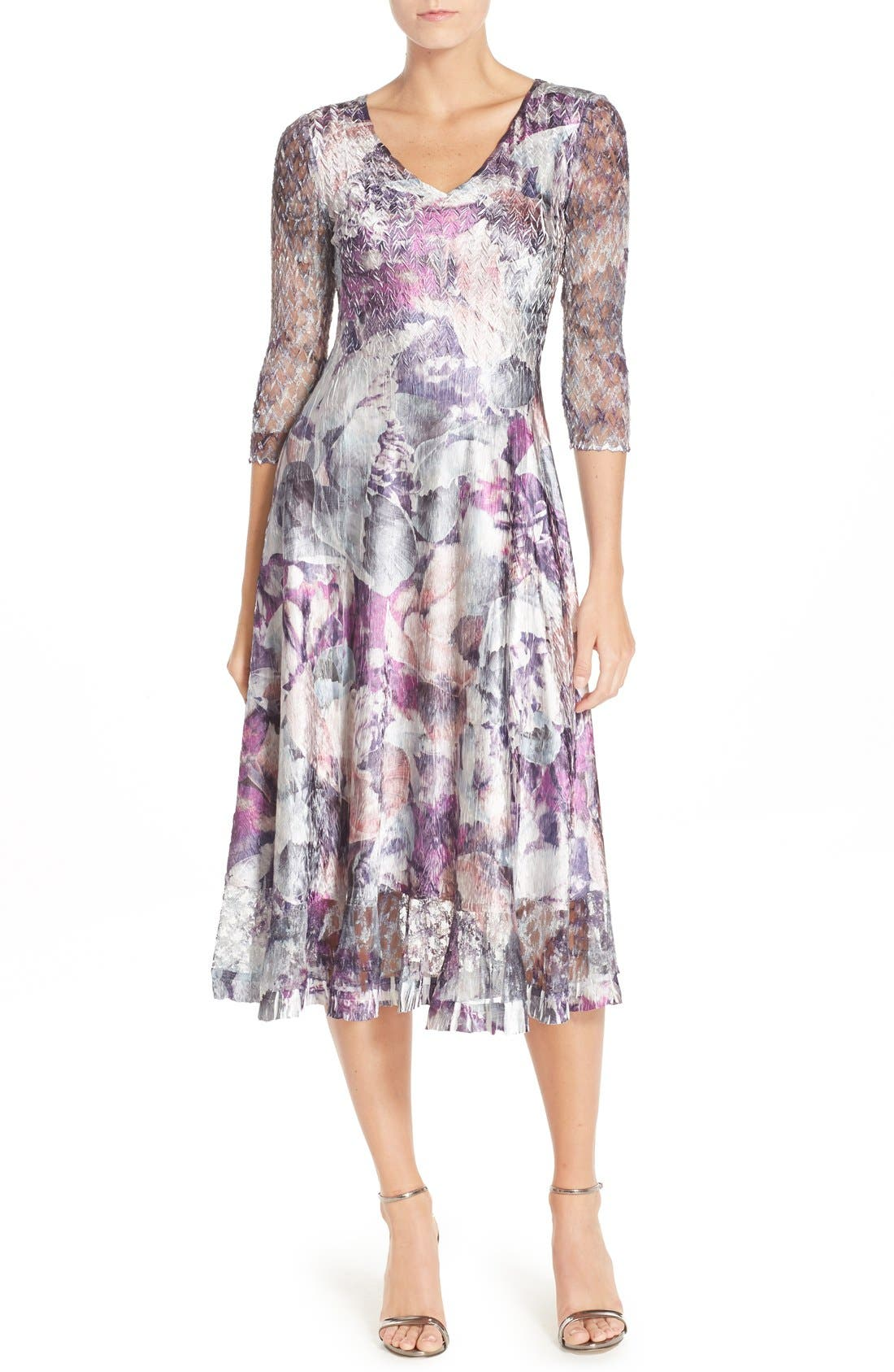 Komarov Mixed Media A-Line Dress (Regular & Petite)