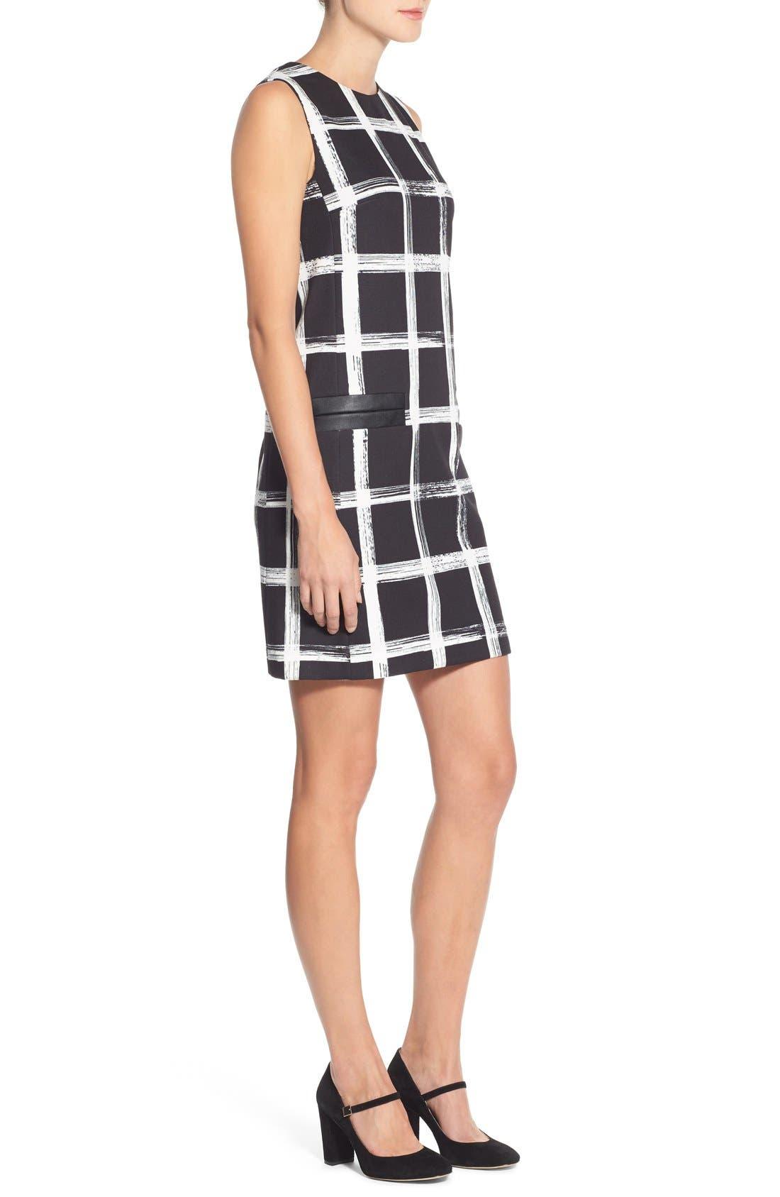 Alternate Image 3  - Eliza J Windowpane Print Ponte Shift Dress (Regular & Petite)