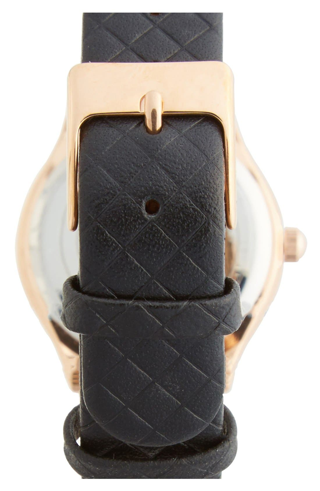 Alternate Image 2  - Topshop Roman Numeral Quilted Leather Strap Watch, 28mm