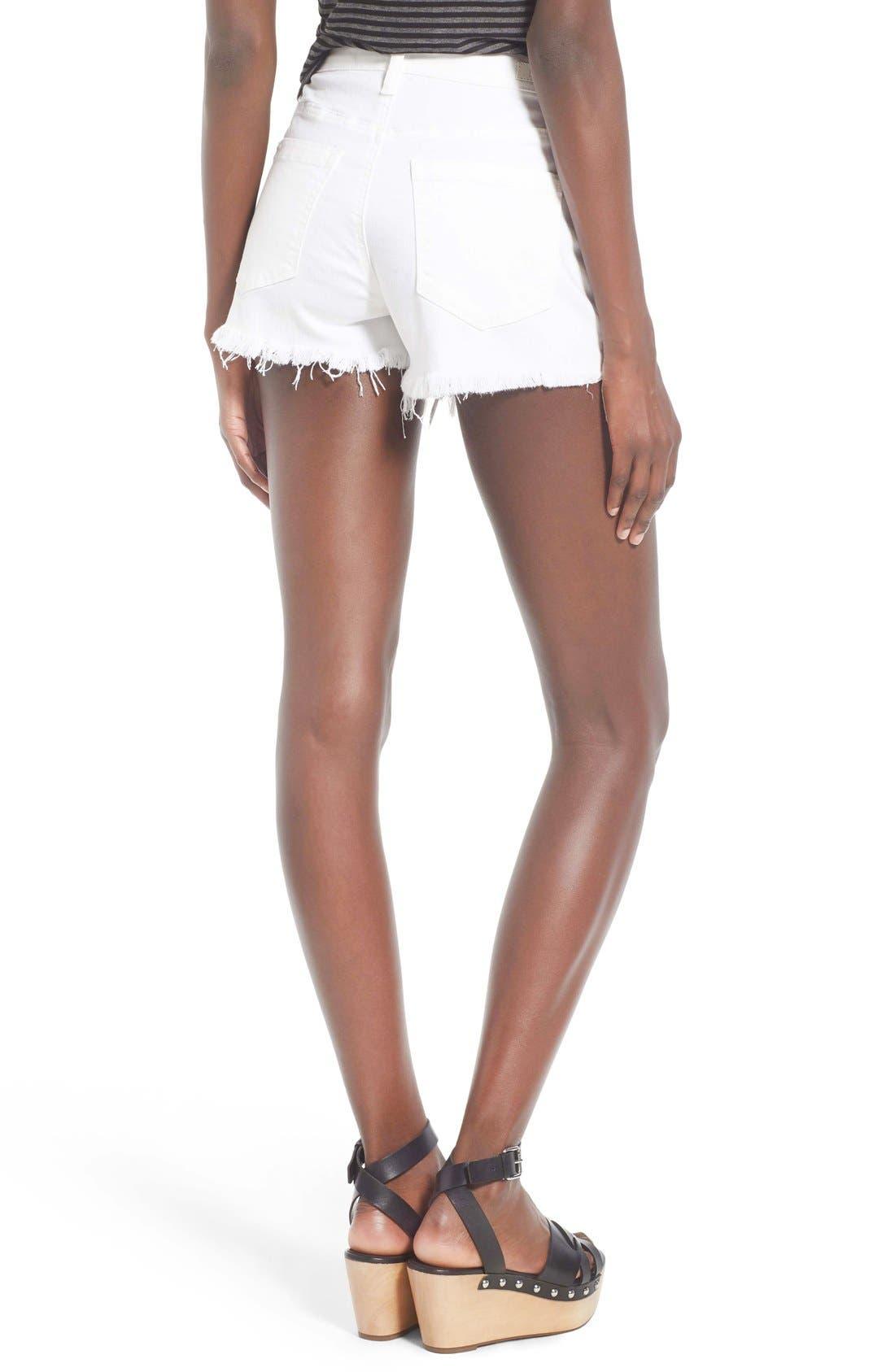 Alternate Image 2  - BLANKNYC High Rise Cutoff Denim Shorts (White Broney)