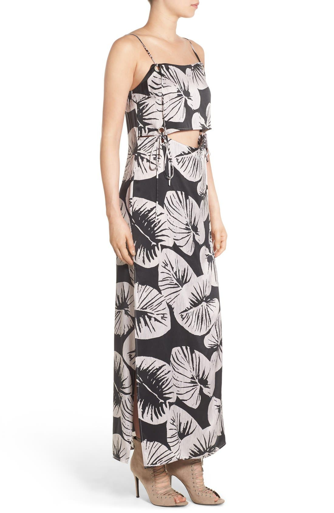 Alternate Image 3  - KENDALL + KYLIE Print Cutout Silk Maxi Dress