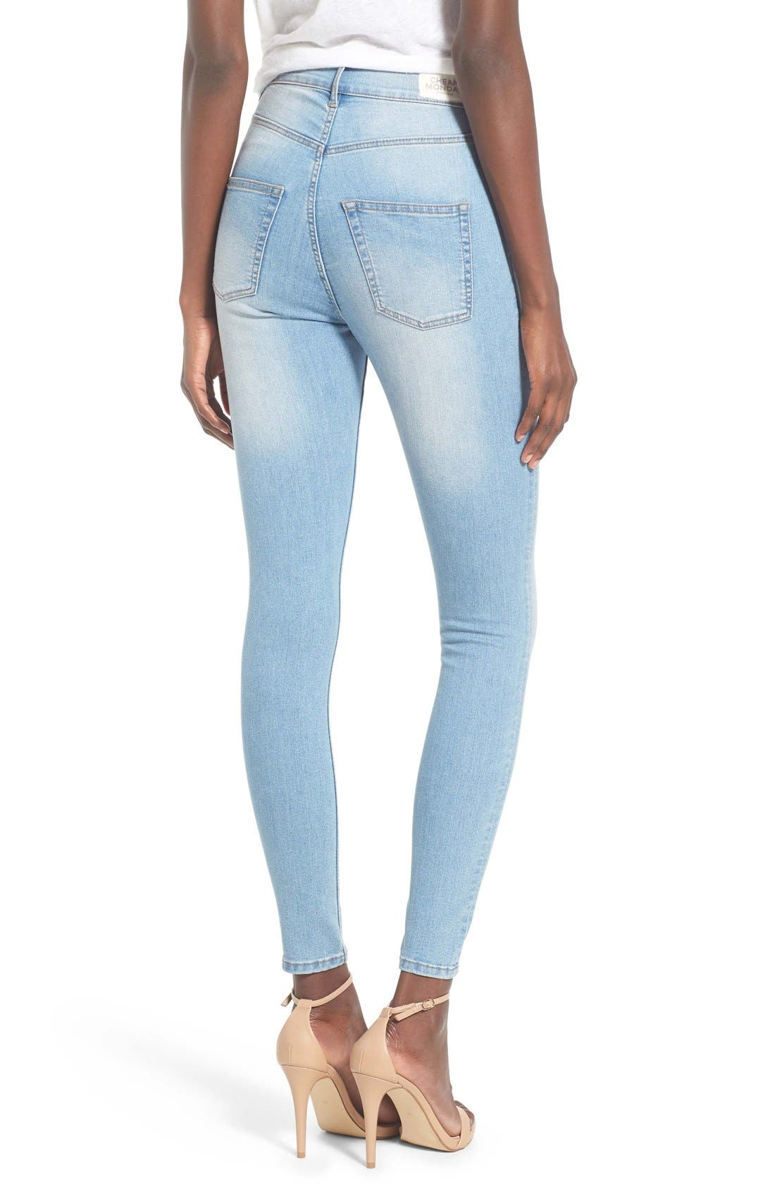 Alternate Image 2  - Cheap Monday 'High Spray' High Rise Skinny Jeans (Stone Bleach)