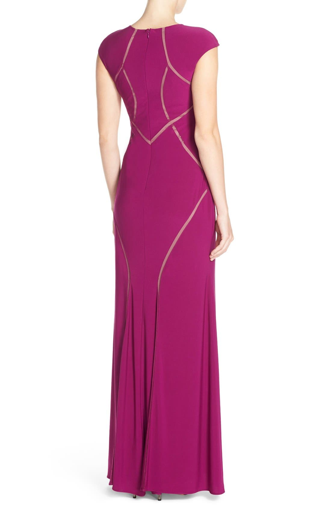 Alternate Image 2  - Xscape Mesh Inset Jersey Gown
