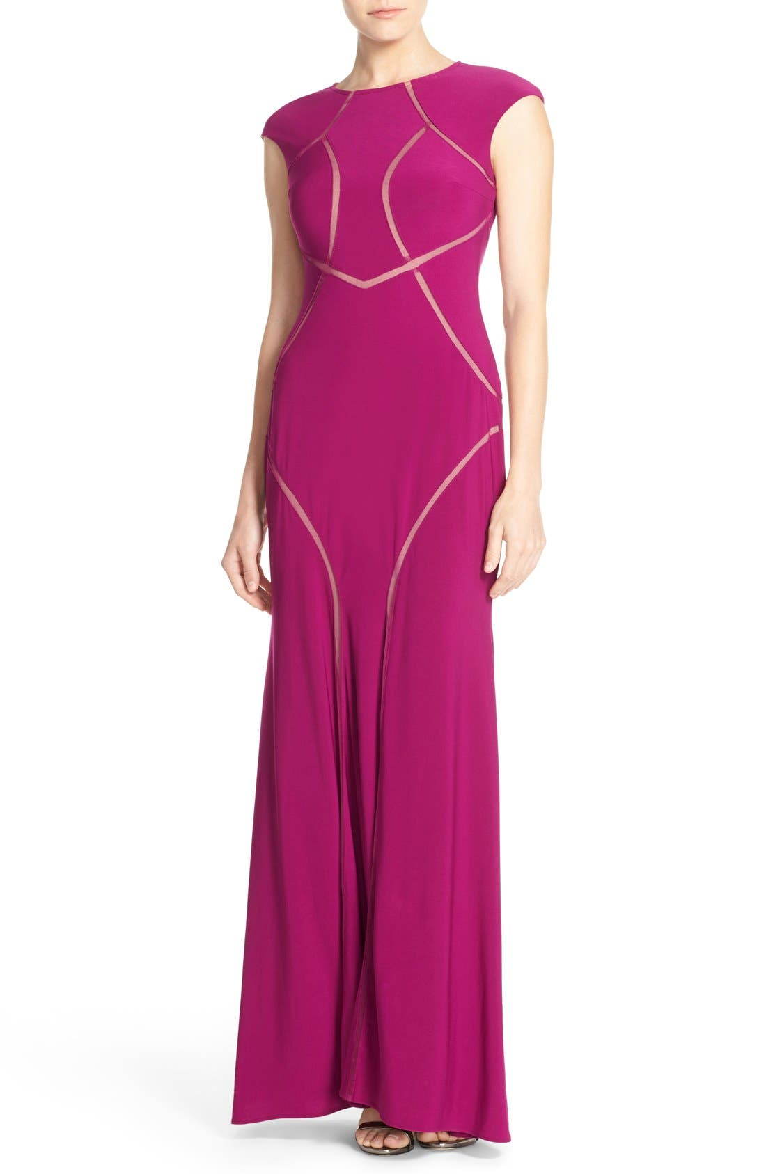 Alternate Image 1 Selected - Xscape Mesh Inset Jersey Gown