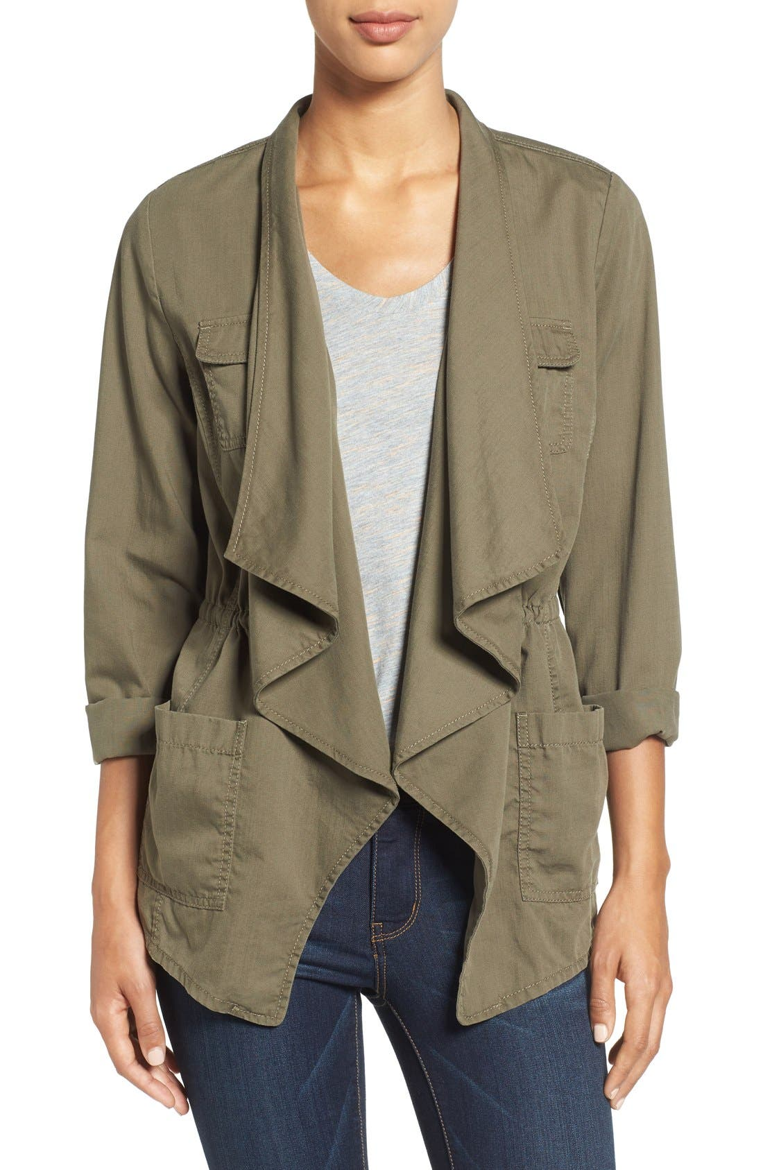 Caslon® Draped Utility Jacket (Regular & Petite)