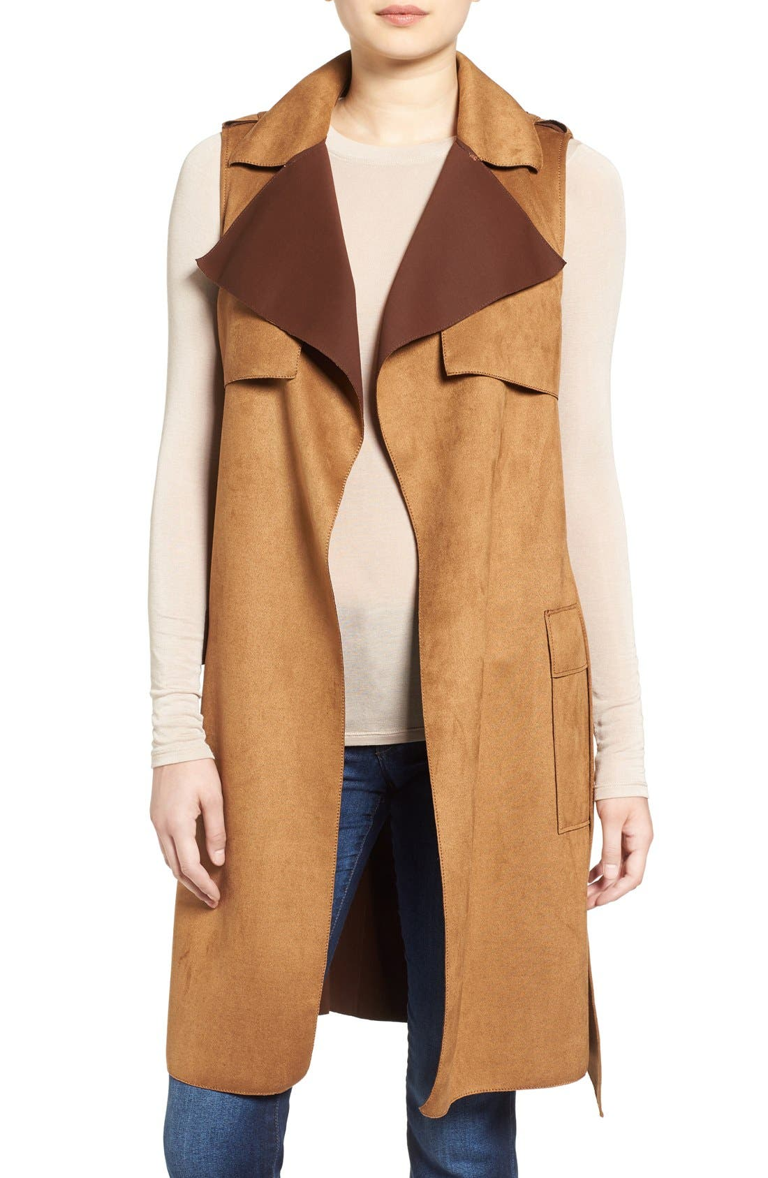 Alternate Image 1 Selected - Love Token Faux Suede Long Vest