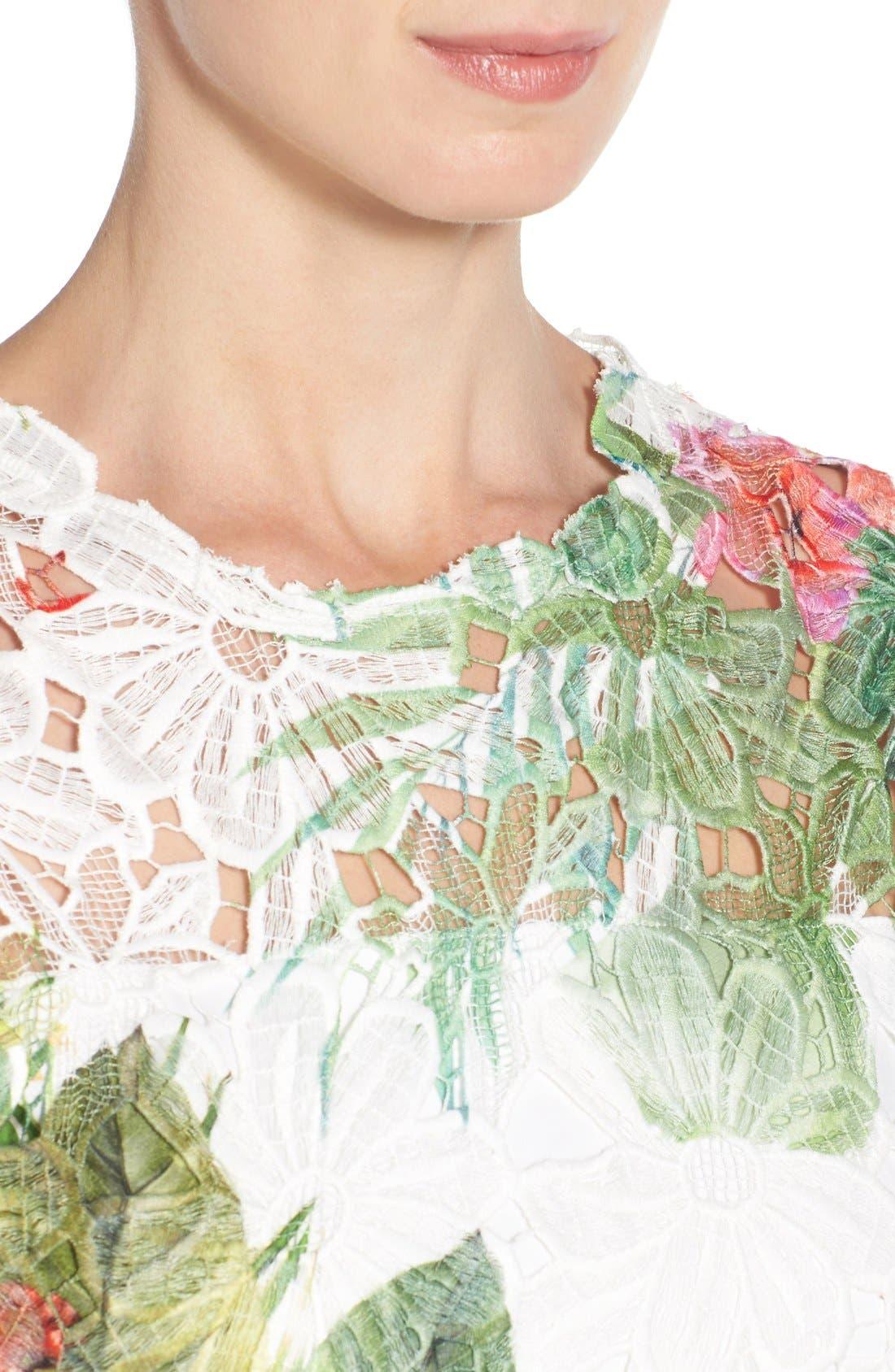 Alternate Image 4  - Elie Tahari 'Weslee' Tropical Print Lace Overlay Sheath Dress
