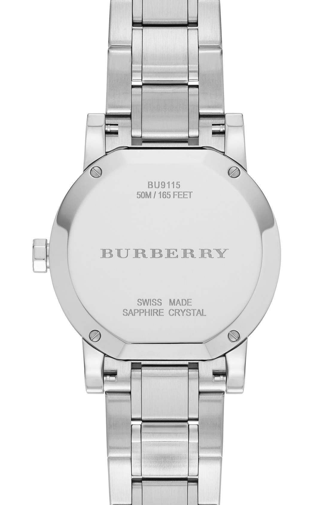 Alternate Image 4  - Burberry Medium Check Stamped Bracelet Watch, 34mm