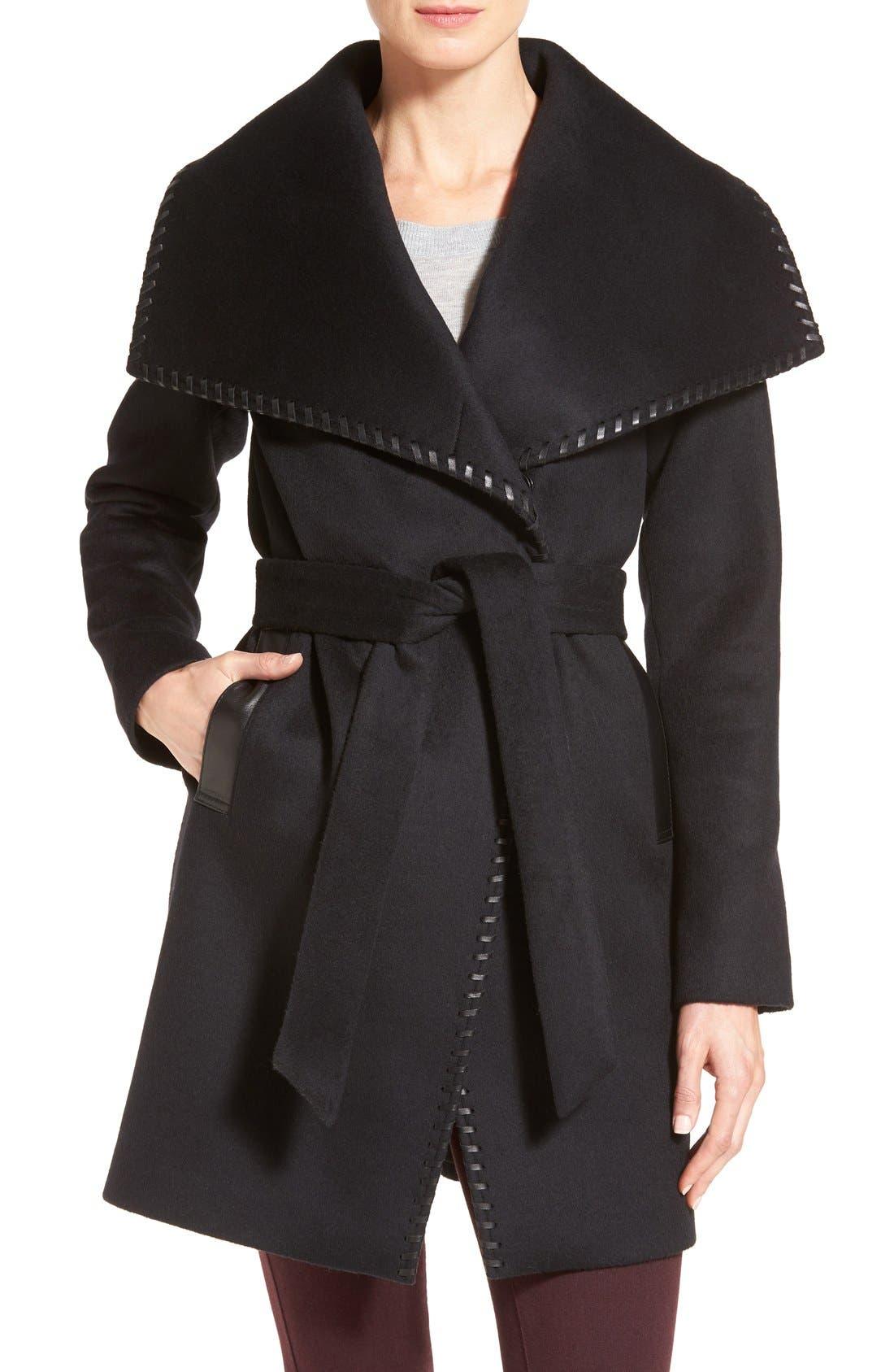 Alternate Image 1 Selected - Elie Tahari Whipstitch Wool Blend Wrap Coat