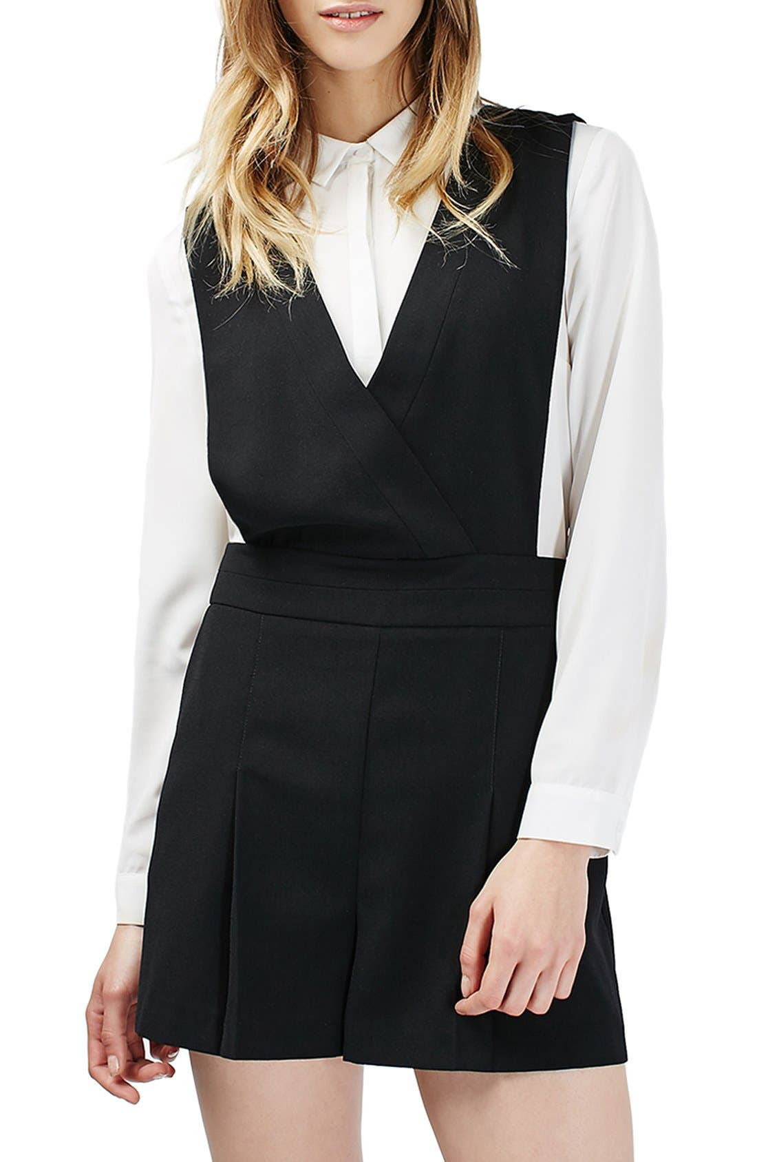 Alternate Image 1 Selected - Topshop One-Piece Pinafore Romper