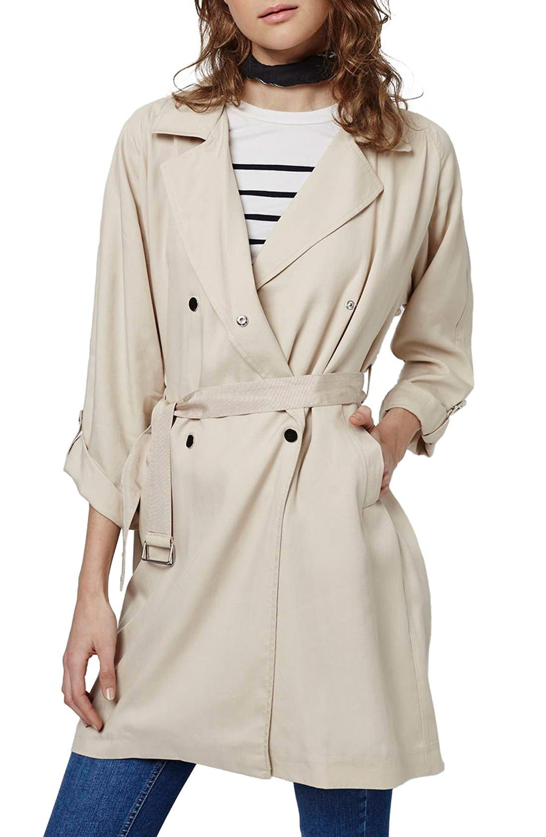 Main Image - Topshop Textured Double Breasted Coat
