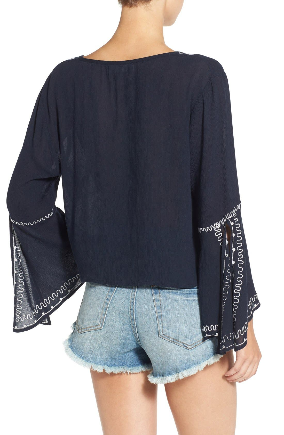 Alternate Image 2  - Band of Gypsies Embroidered Bell Sleeve Blouse