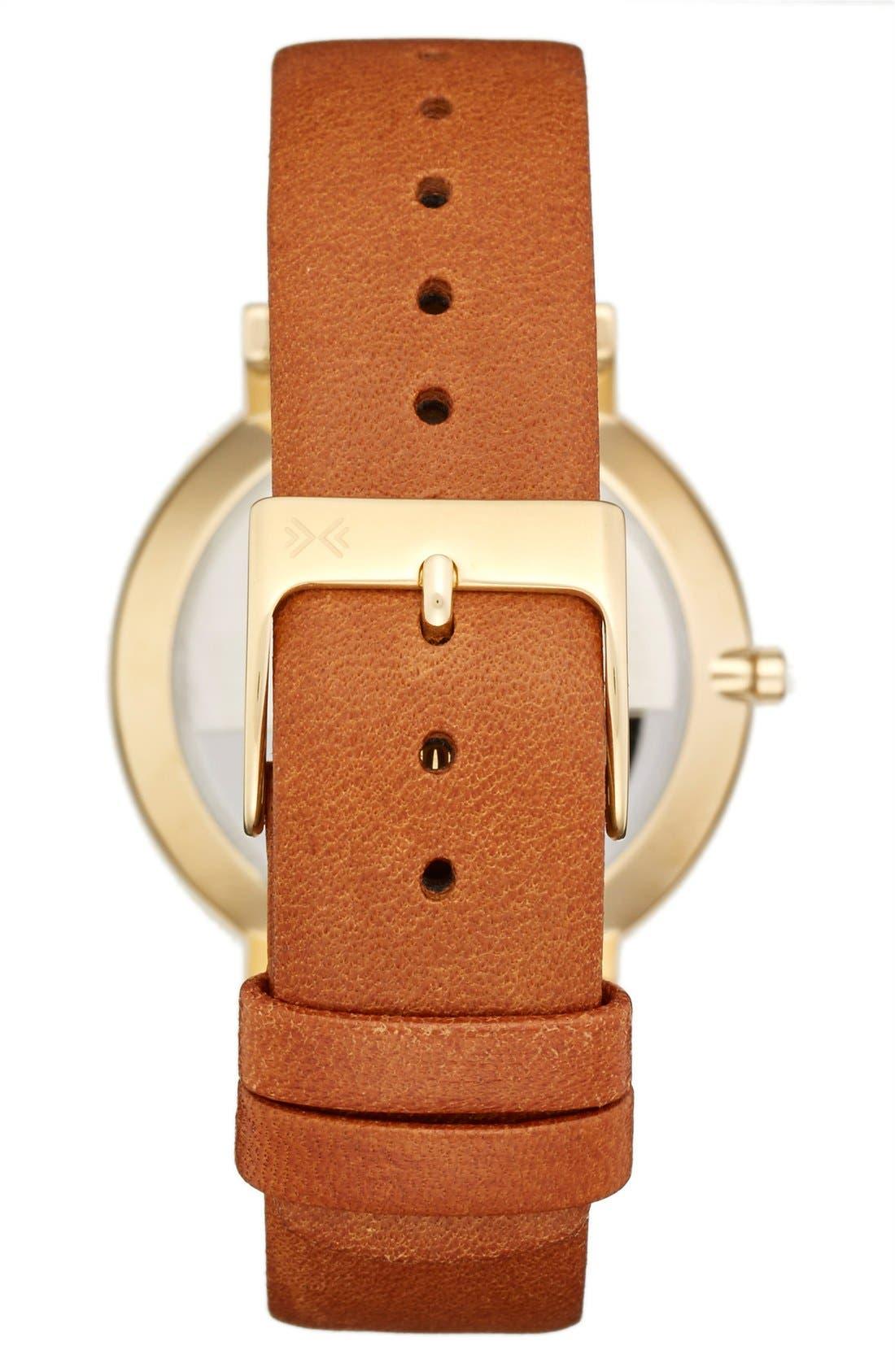 Alternate Image 2  - Skagen 'Hald' Round Leather Strap Watch, 34mm
