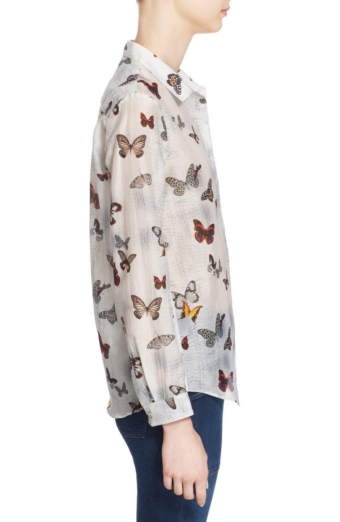 Alternate Image 3  - The Kooples Butterfly Print Cotton & Silk Shirt