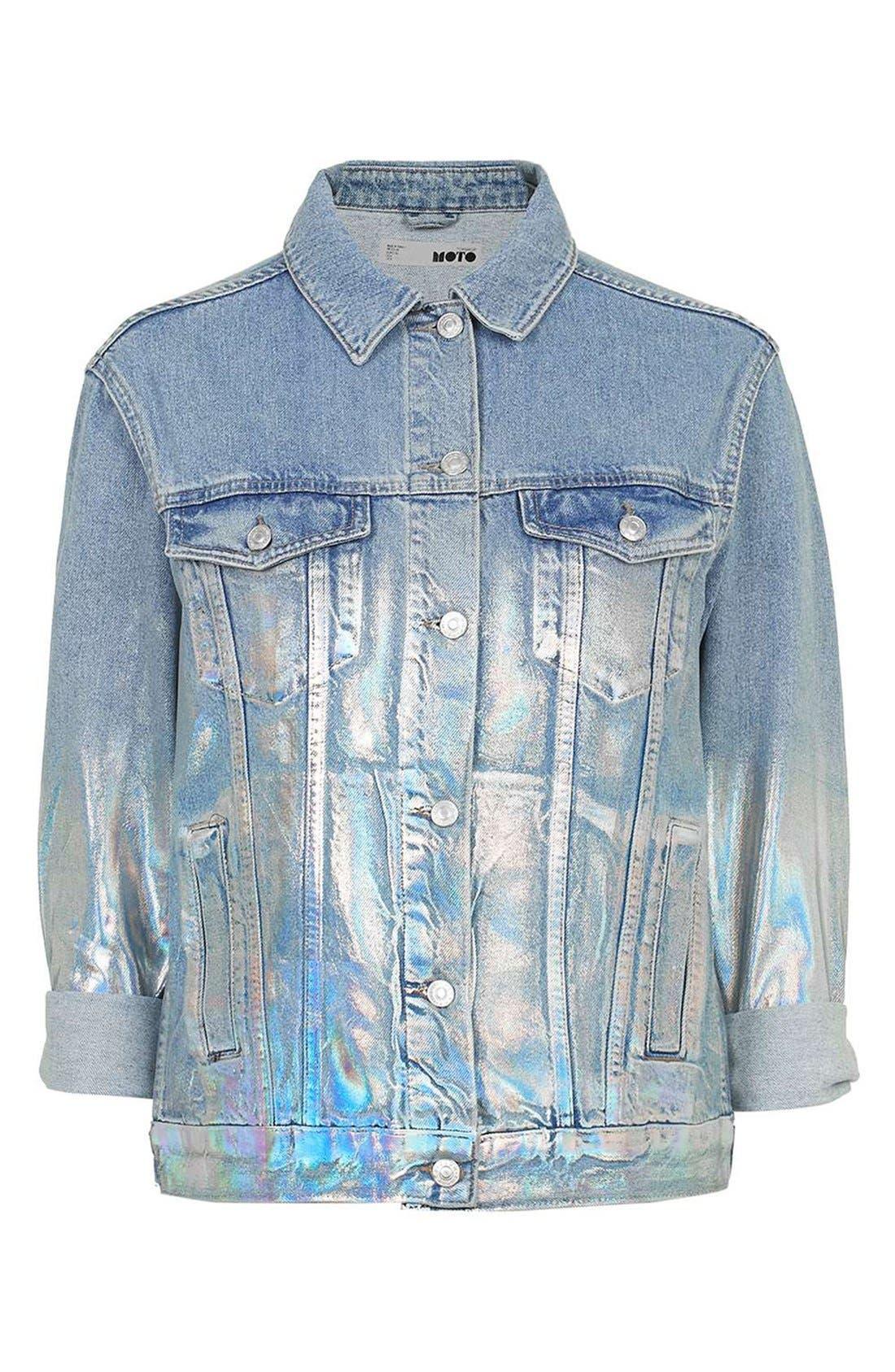 Alternate Image 3  - Topshop Ombré Foil Oversize Denim Jacket