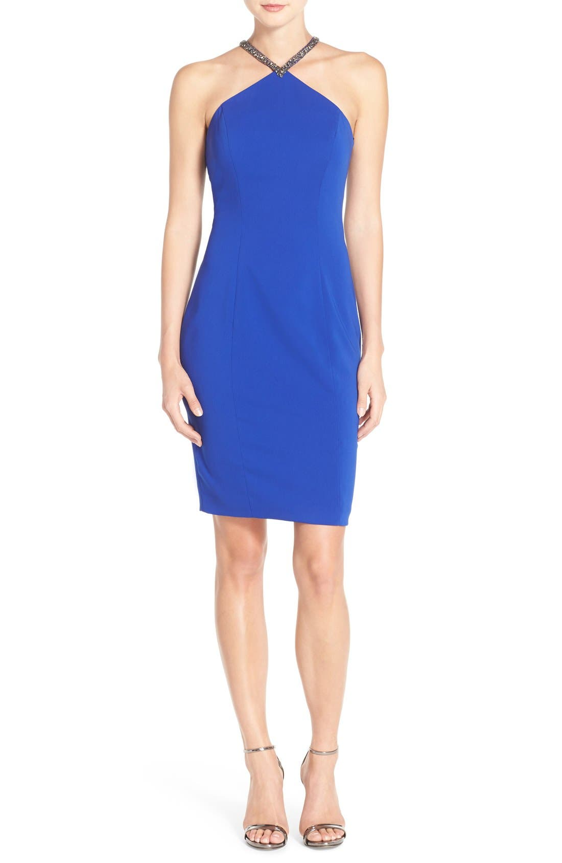 CARMEN MARC VALVO INFUSION Beaded Neck Crepe Sheath
