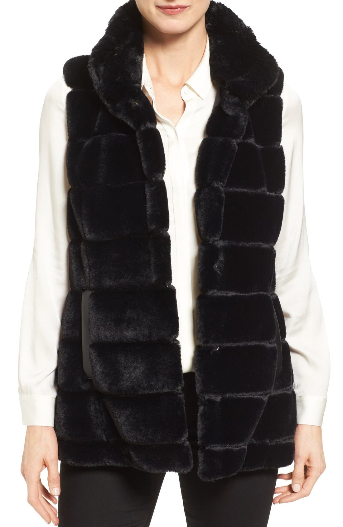 Main Image - Jones New York Reversible Faux Fur Vest
