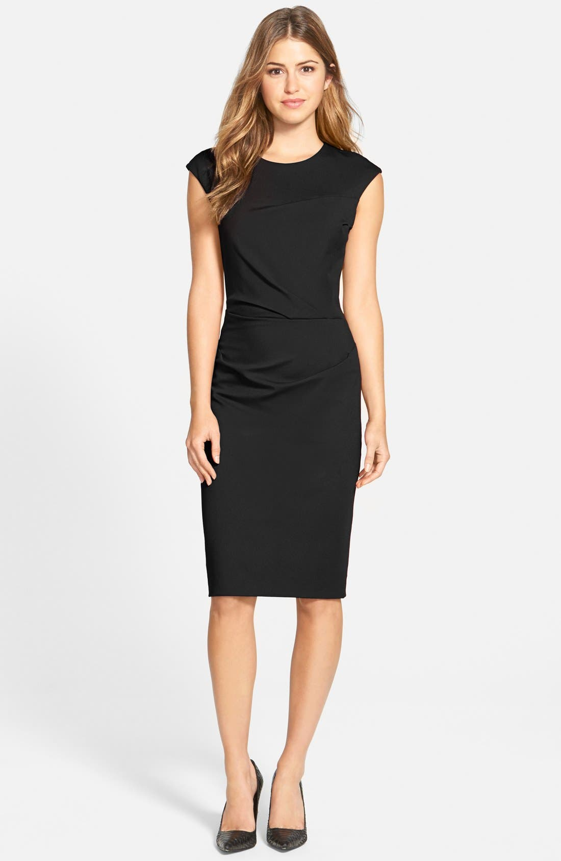 Alternate Image 5  - Betsey Johnson Ruched Ponte Sheath Dress (Online Only)