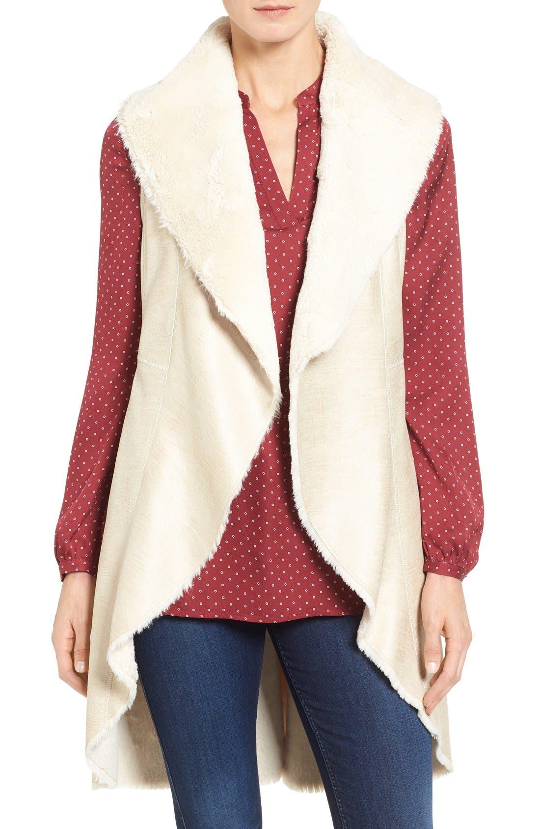 Eliza J Foiled Faux Shearling Vest