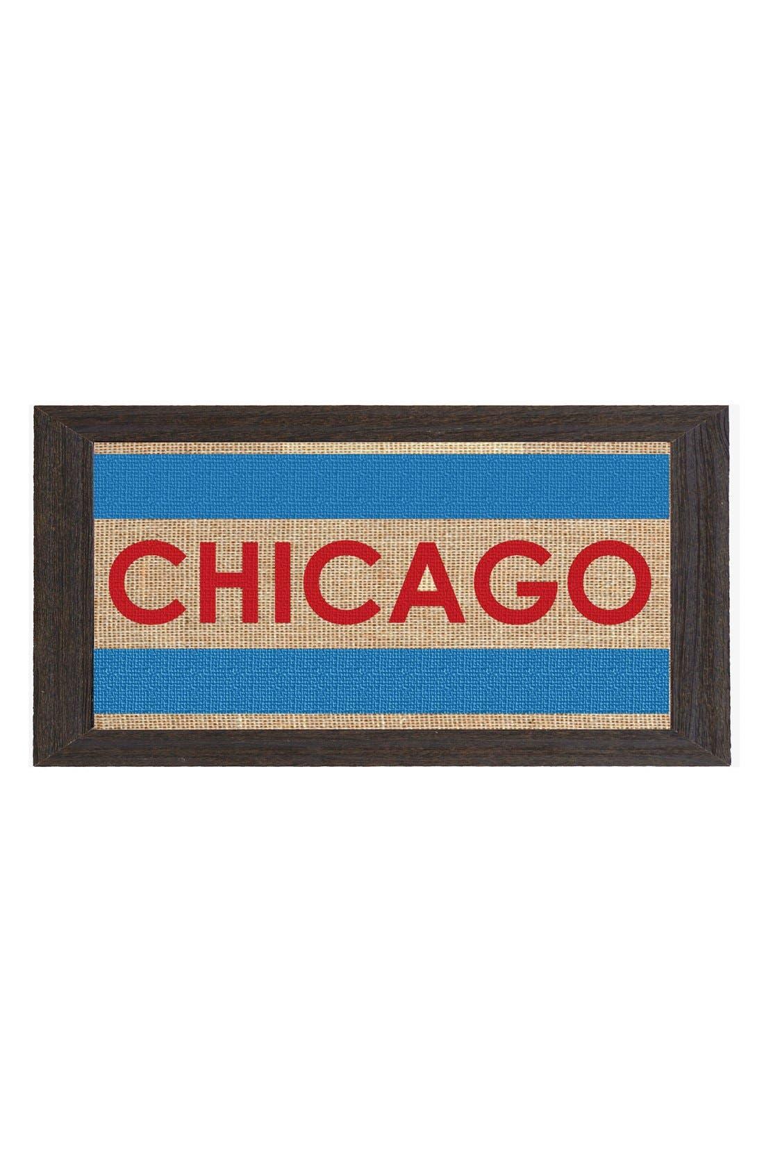 Main Image - Fiber and Water 'Chicago Flag' Burlap & Driftwood Wall Art
