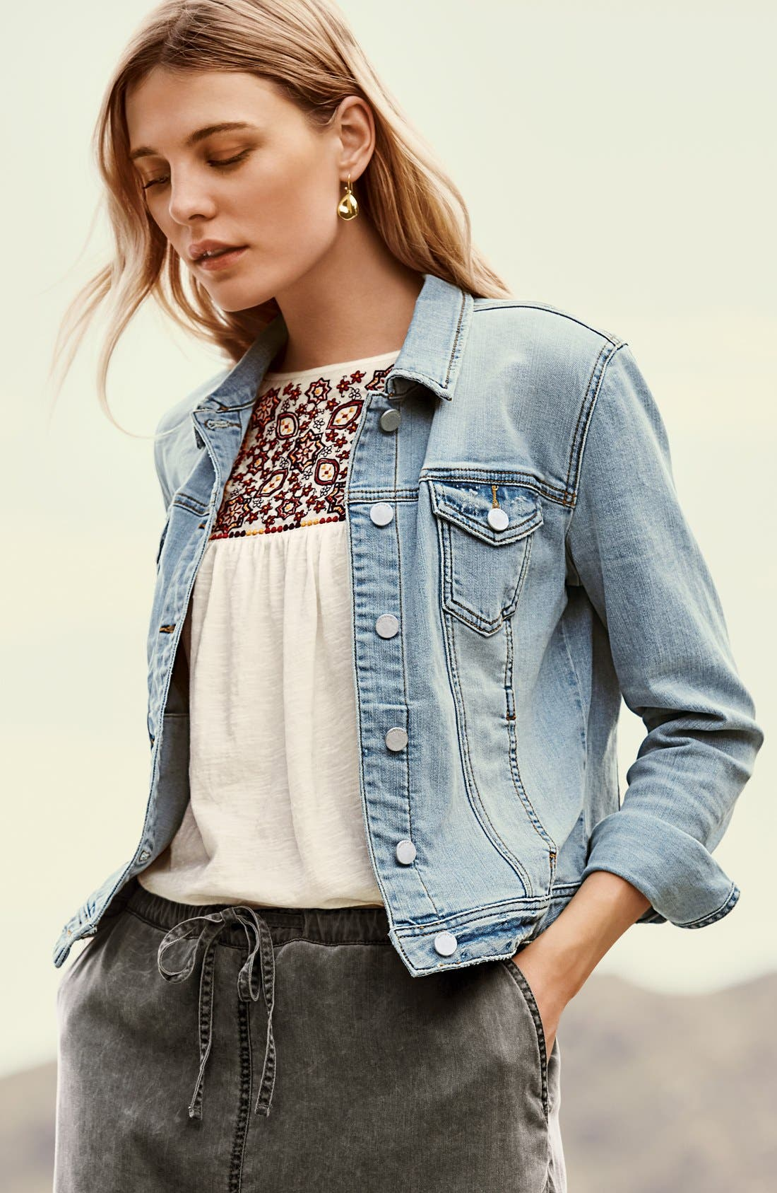 Alternate Image 8  - Caslon® Denim Jacket (Regular & Petite)
