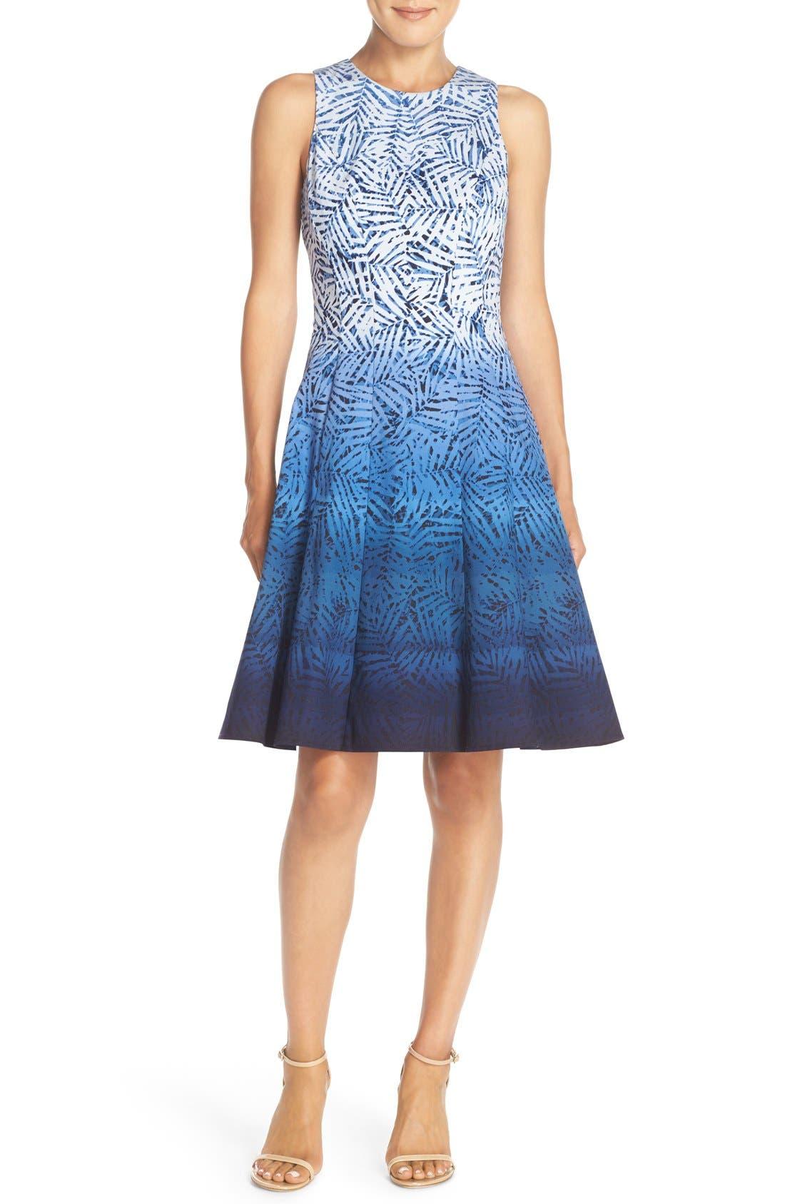 Alternate Image 4  - Maggy London Ombré Print Fit & Flare Dress