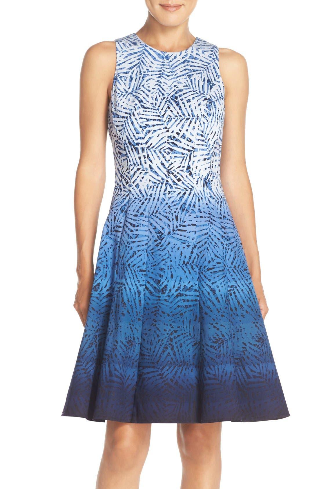 Main Image - Maggy London Ombré Print Fit & Flare Dress