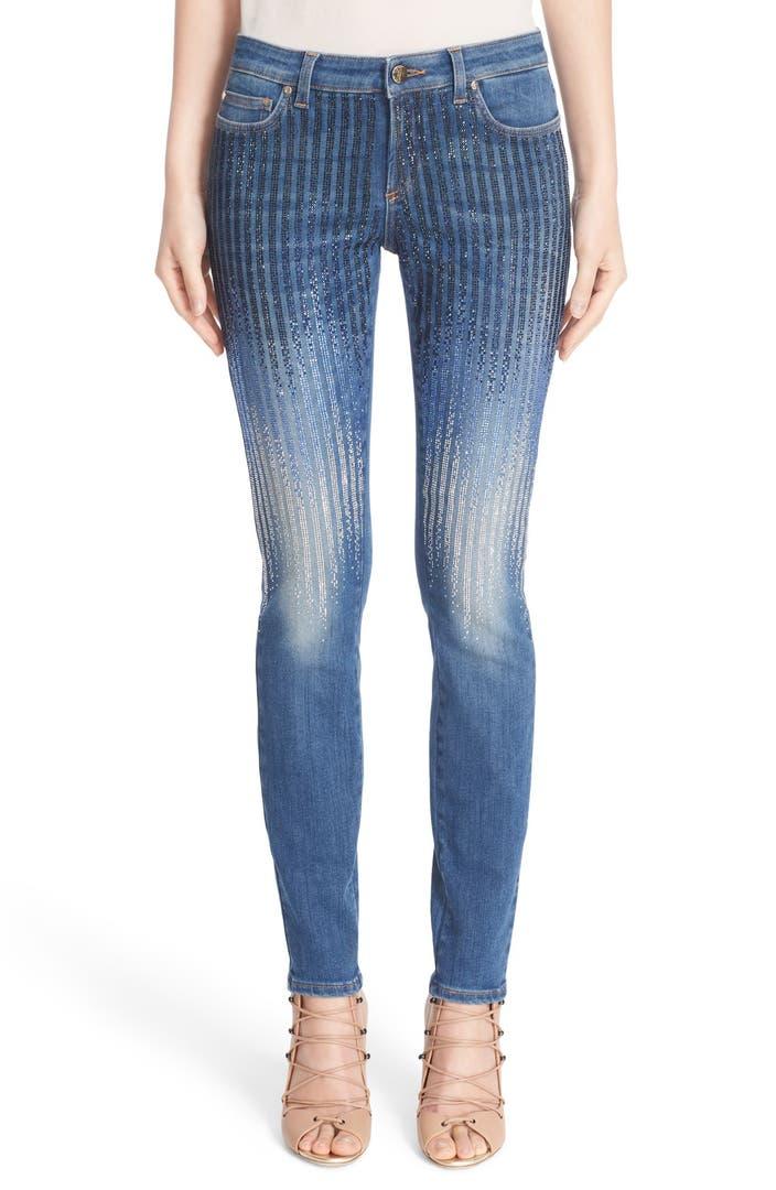 Versace Sparkle Stripe Embellished Skinny Jeans Nordstrom