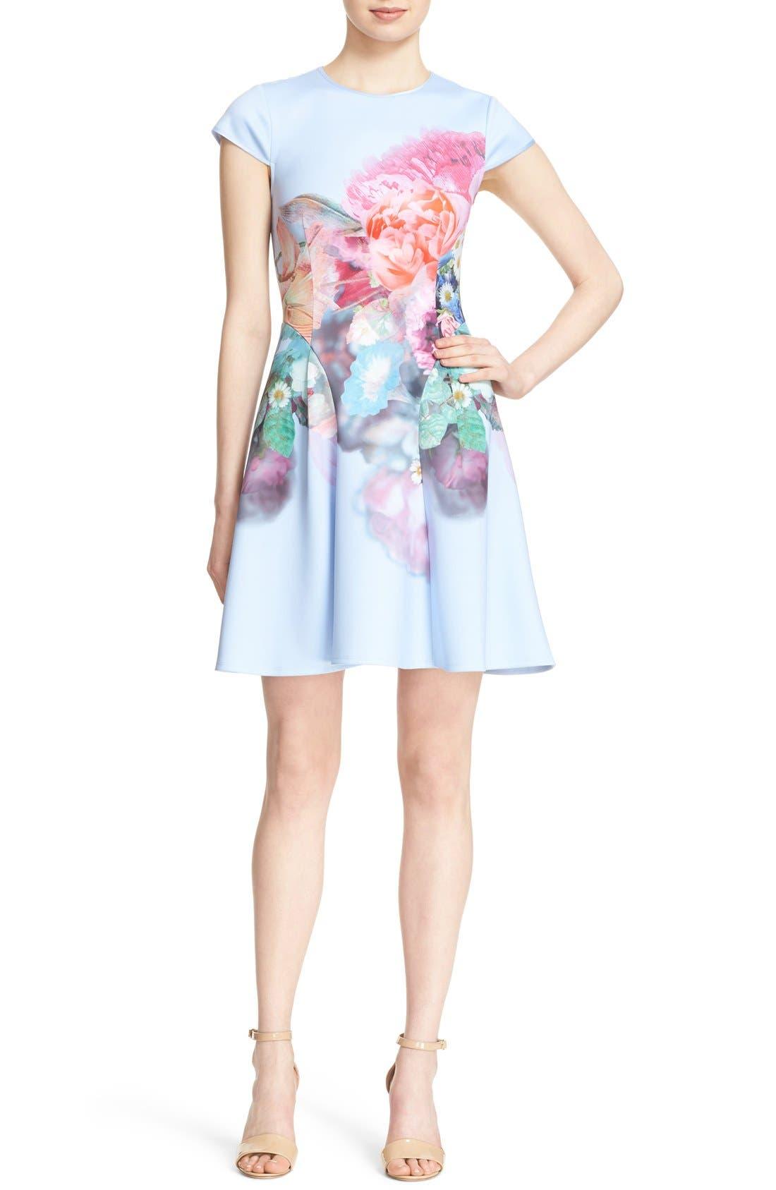 Main Image - Ted Baker London 'Bowkay' Floral Print Neoprene Skater Dress