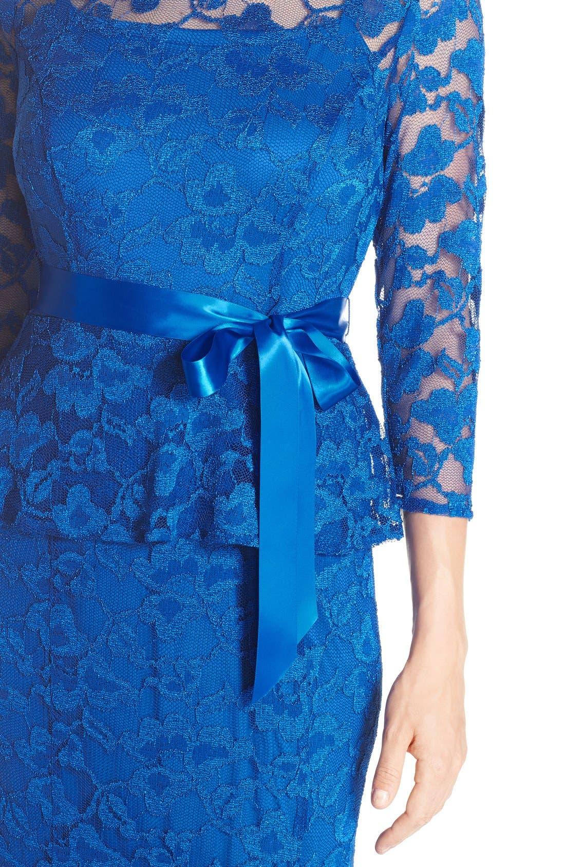 Alternate Image 4  - Chetta B Peplum Lace Mermaid Gown