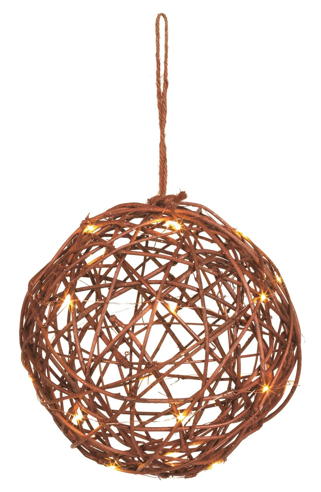 Main Image - Sage & Co. Light Up Rattan & Wire Ball Ornament