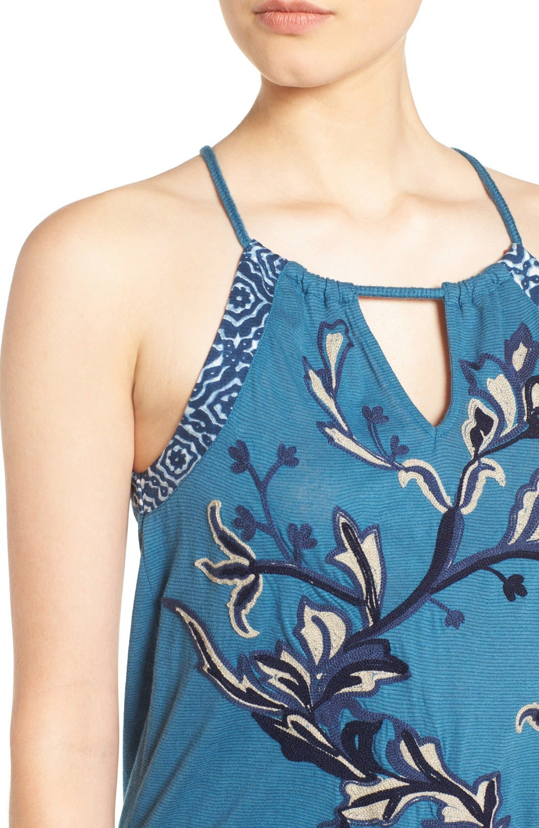 Alternate Image 4  - Lucky Brand Embroidered Keyhole Tank