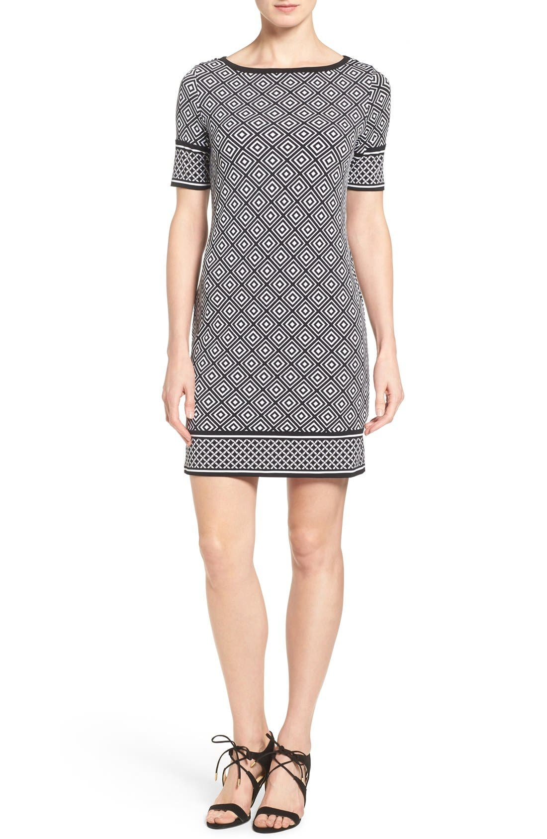 Alternate Image 1 Selected - MICHAEL Michael Kors 'Loflin' Print Shift Dress (Regular & Petite)
