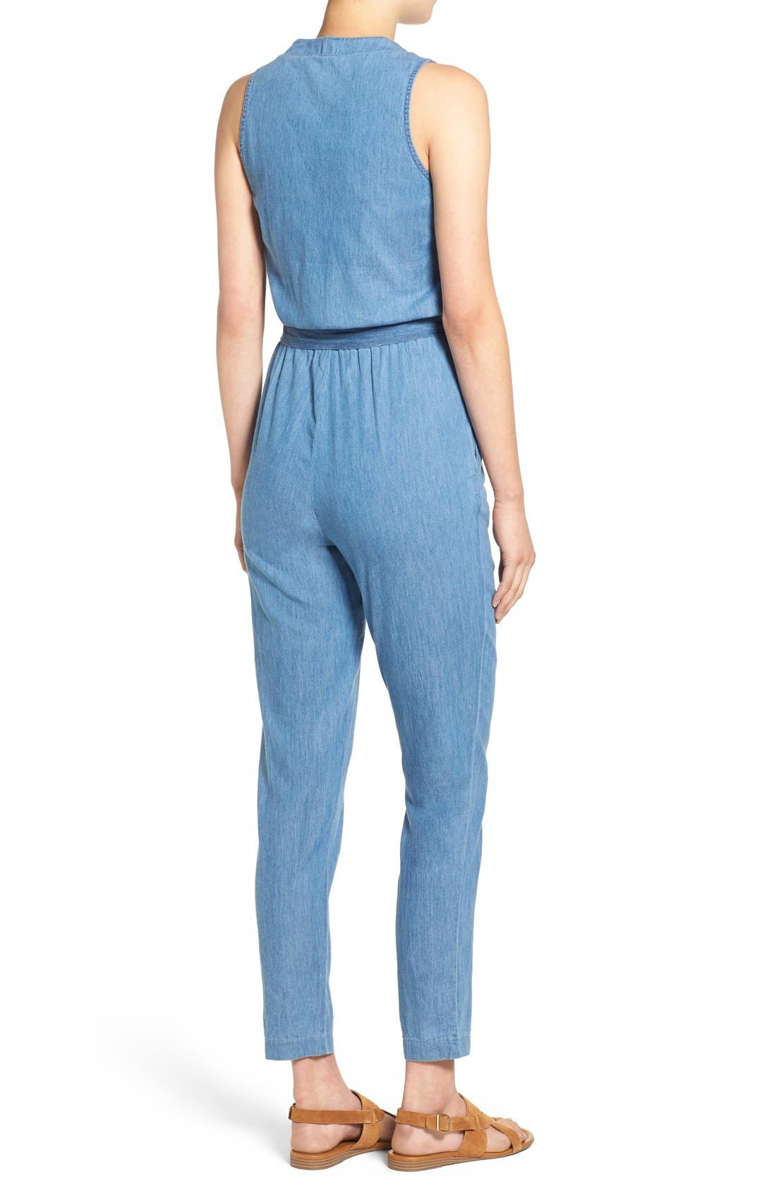 Alternate Image 2  - Mimi Chica Surplice Chambray Jumpsuit