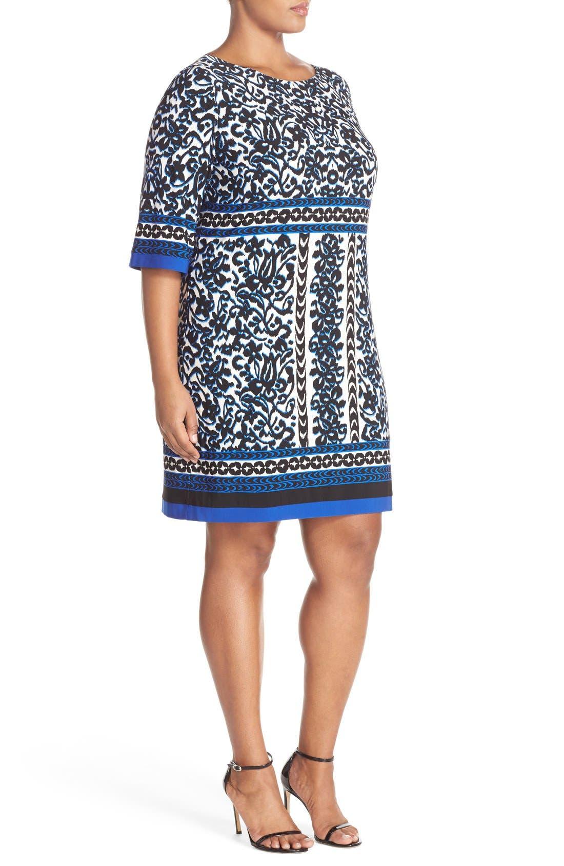 Alternate Image 3  - Eliza J Border Print Elbow Sleeve Shift Dress (Plus Size)