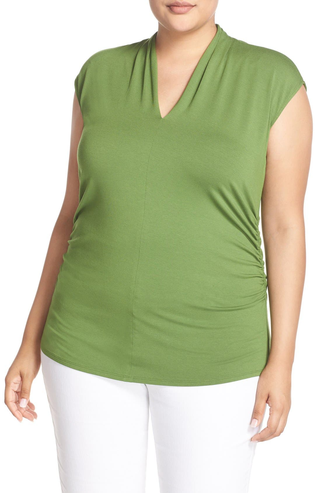 Alternate Image 1 Selected - Vince Camuto Pleat V-Neck Knit Top (Plus Size)