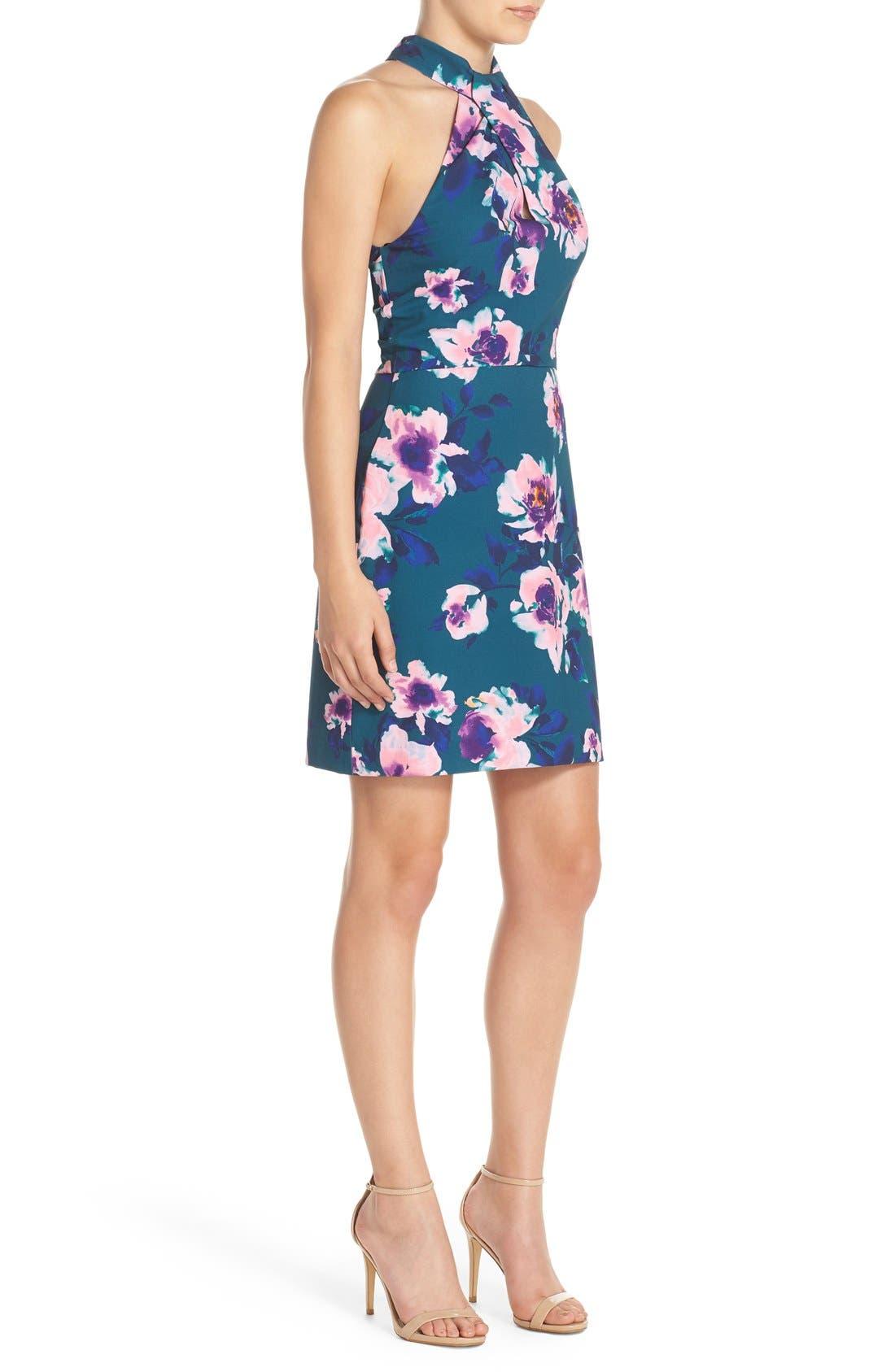 Alternate Image 3  - Charles Henry Floral Print Halter Dress