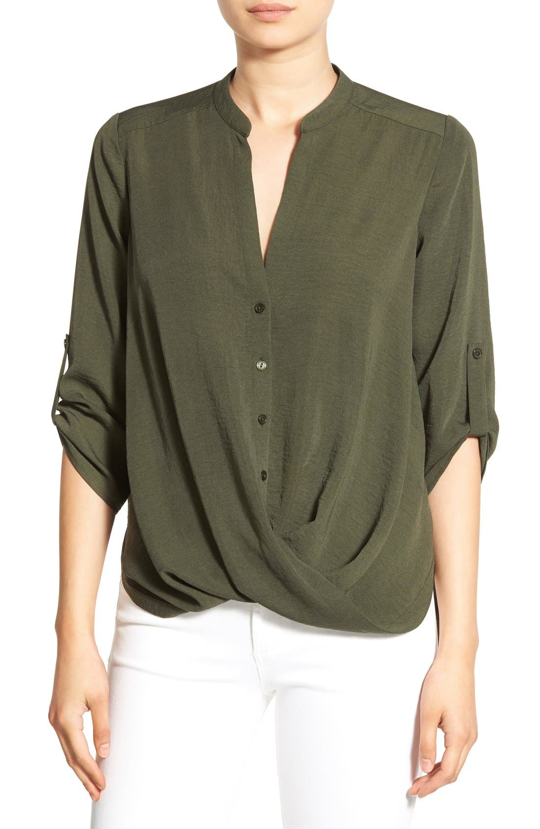 Alternate Image 1 Selected - Lush Twist Front Woven Shirt