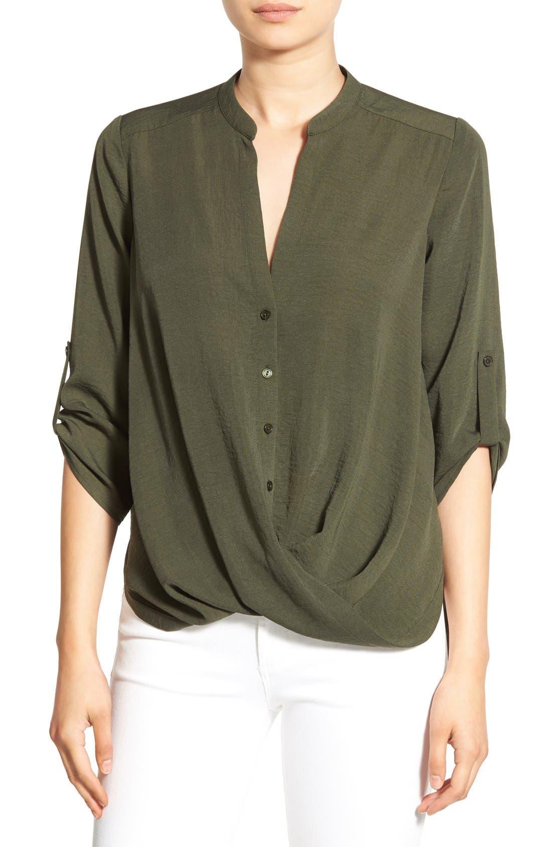 Main Image - Lush Twist Front Woven Shirt