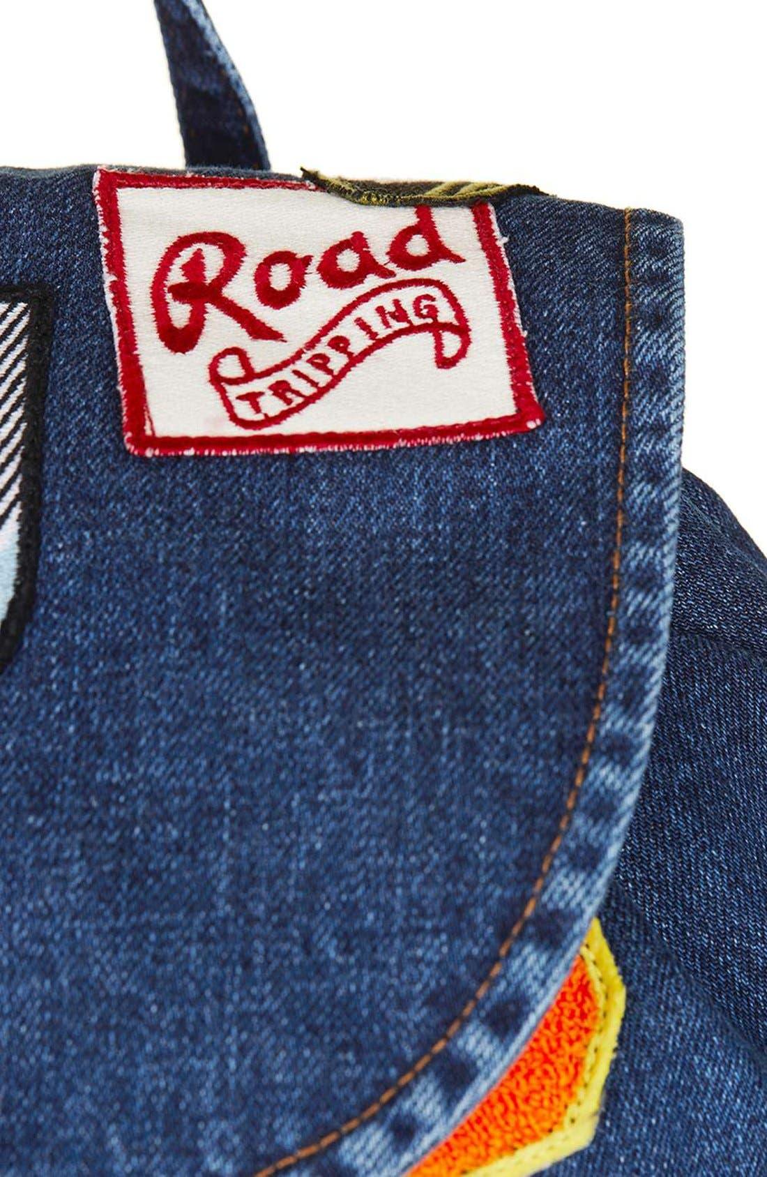 Alternate Image 4  - Topshop Badge Denim Backpack