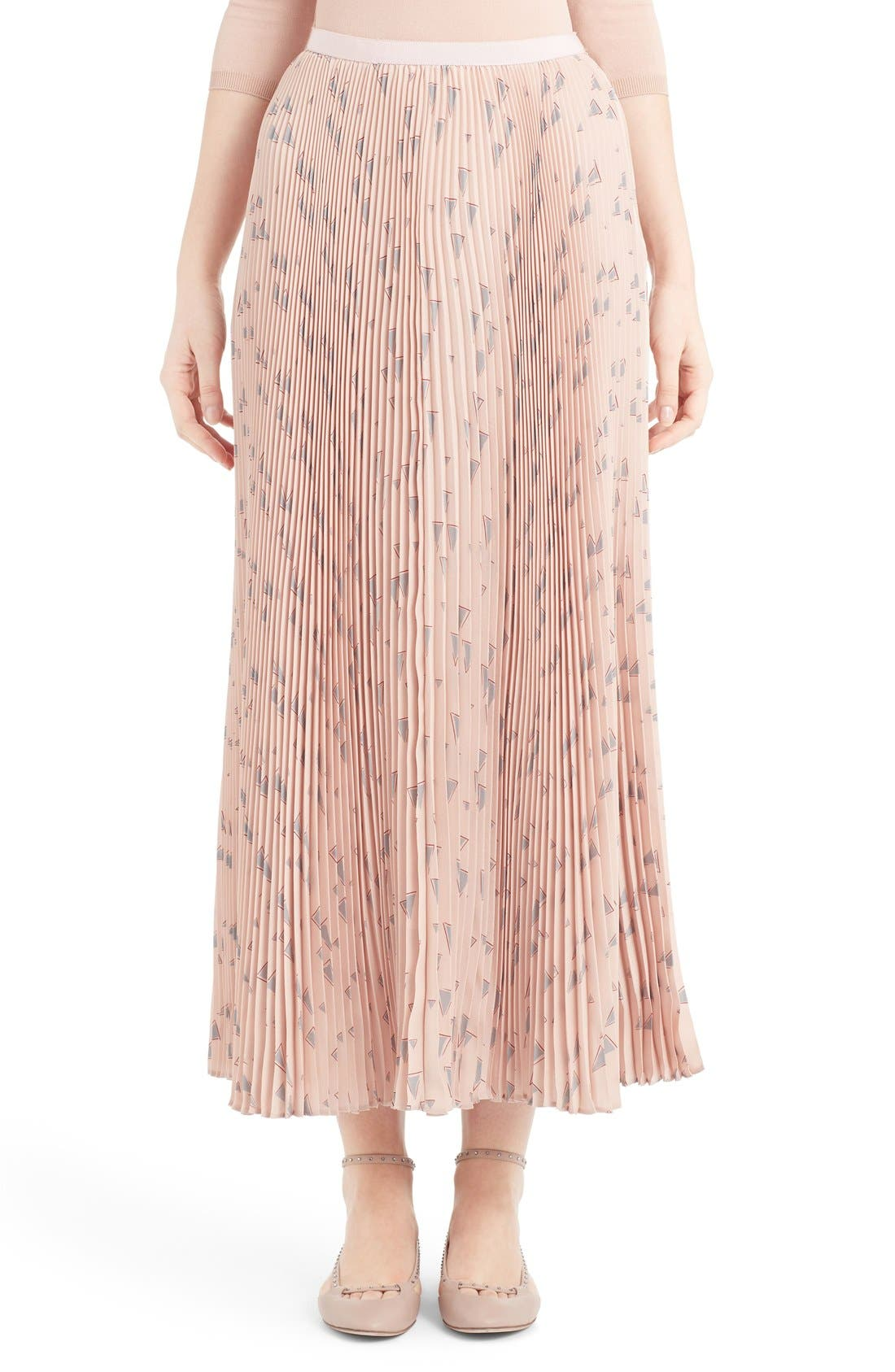Alternate Image 1 Selected - Valentino 'Cascade Triangle' Print Plissé Maxi Skirt