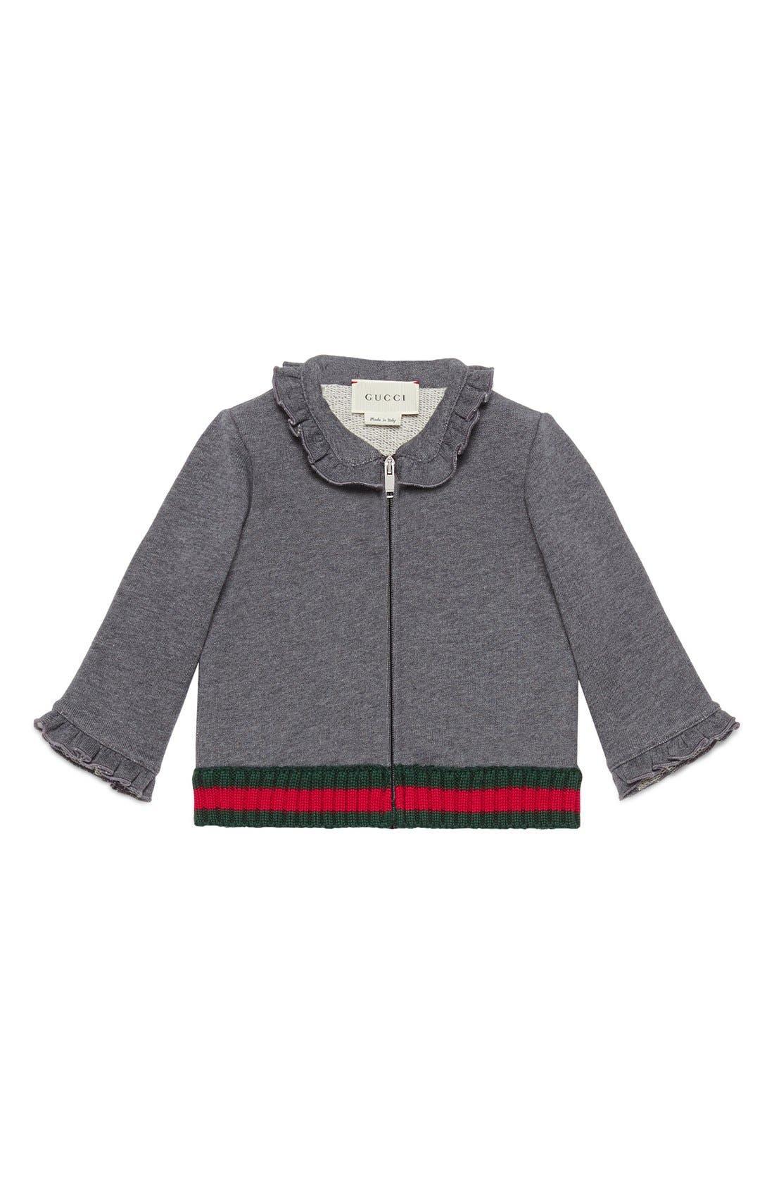 Gucci Ruffle Full Zip Sweater (Baby Girls & Toddler Girls)