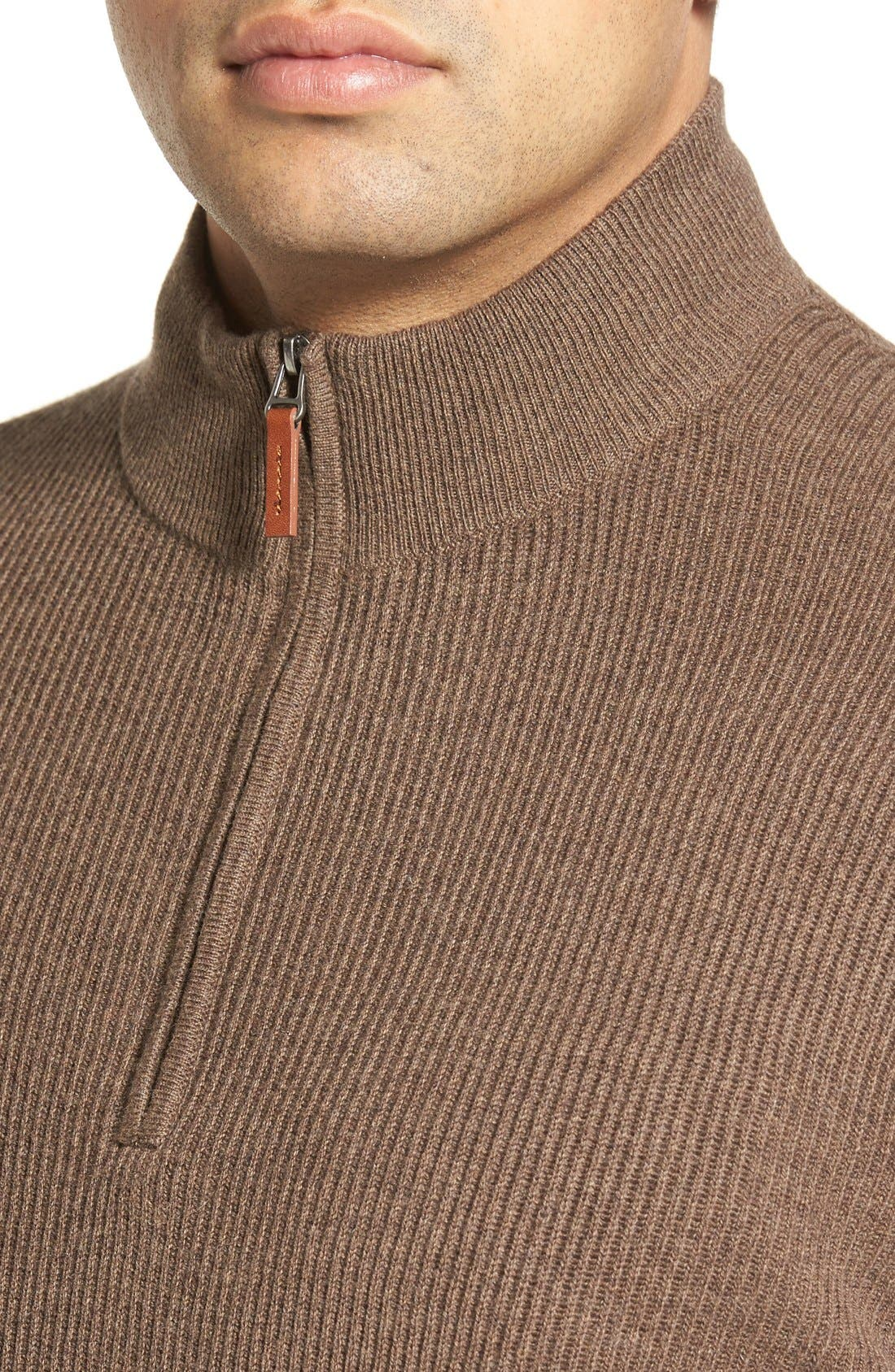 Alternate Image 4  - Nordstrom Men's Shop Cotton & Cashmere Rib Knit Sweater (Regular & Tall)