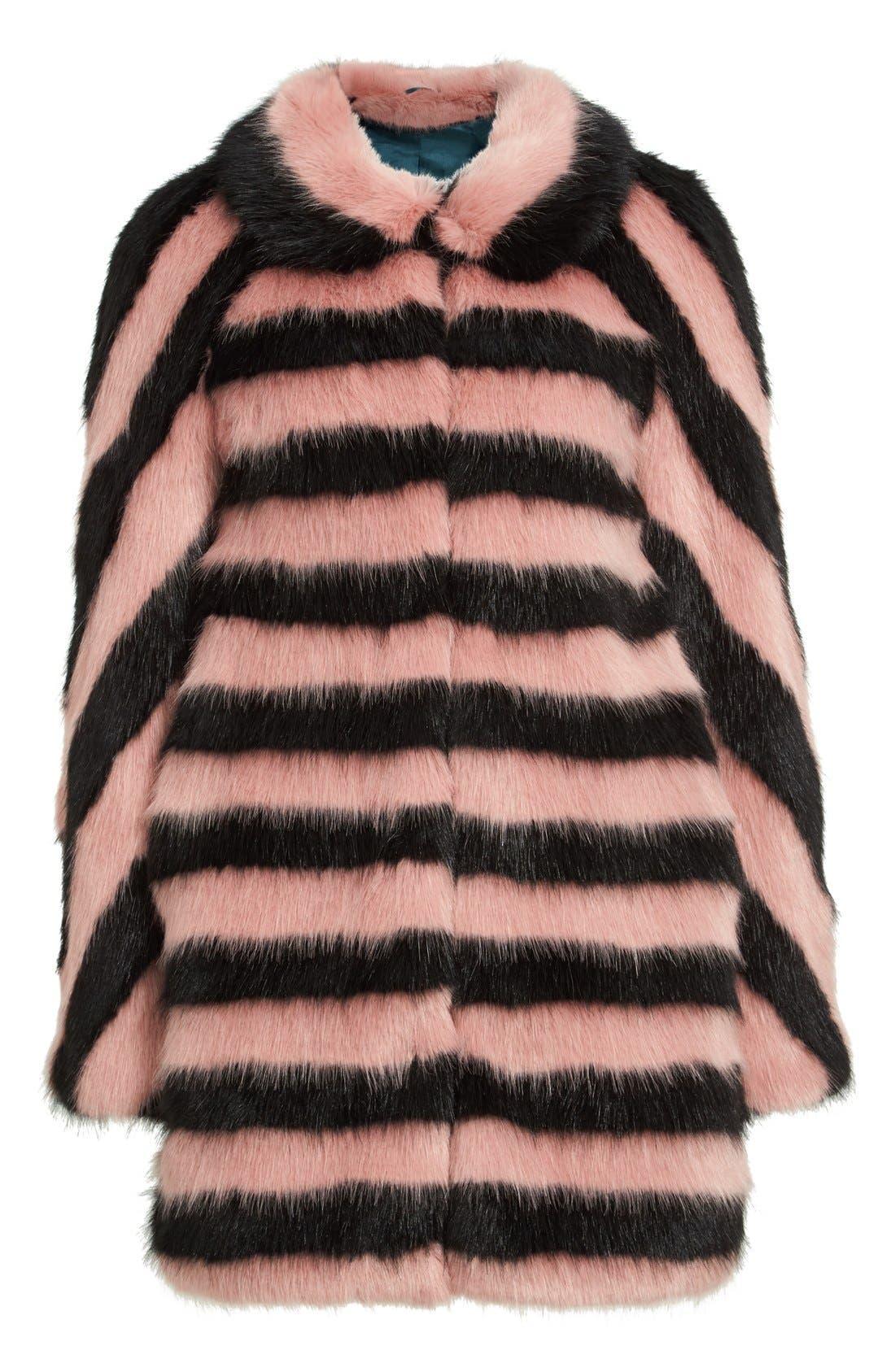 Alternate Image 4  - Shrimps 'Jean' Stripe Faux Fur Coat