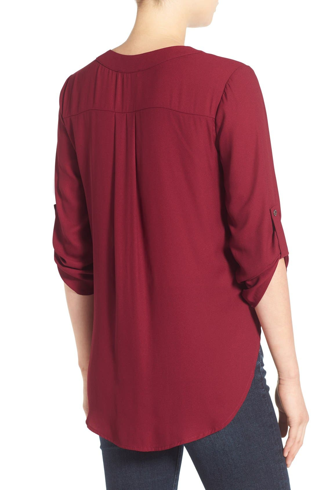 Alternate Image 2  - Lush V-Neck Crepe Blouse