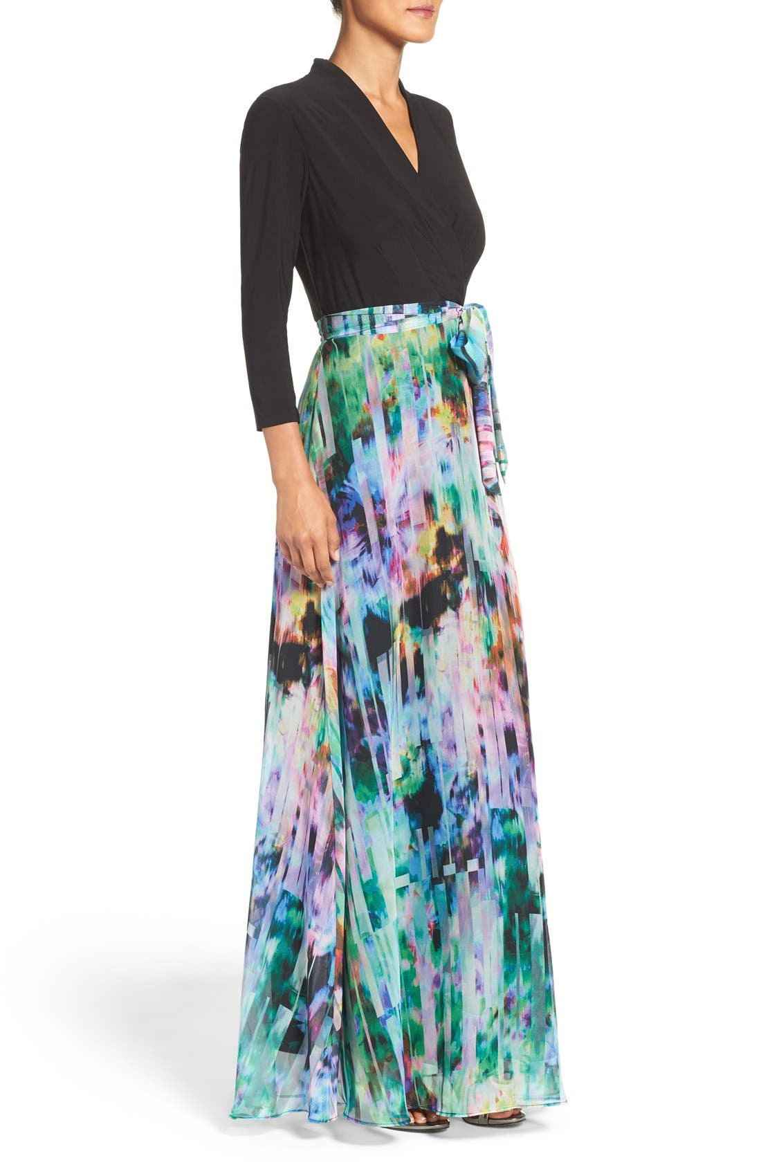 Alternate Image 3  - Chetta B Mixed Media Maxi Dress