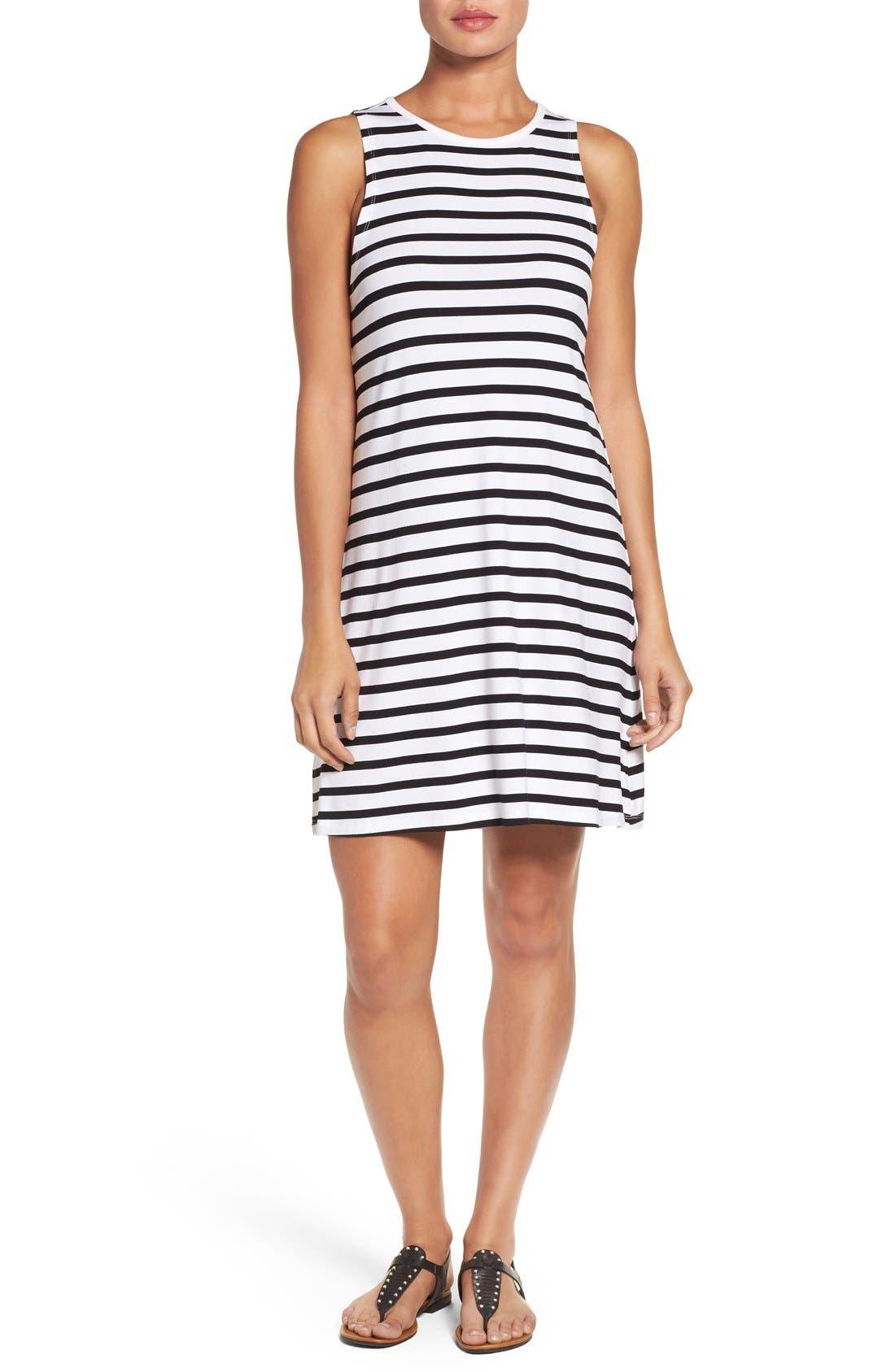 Main Image - Press Stripe Sleeveless A-Line Dress