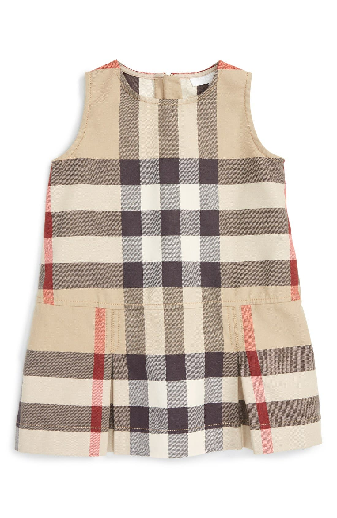 Burberry 'Mini Dawny' Sleeveless Check Print Dress (Baby Girls)