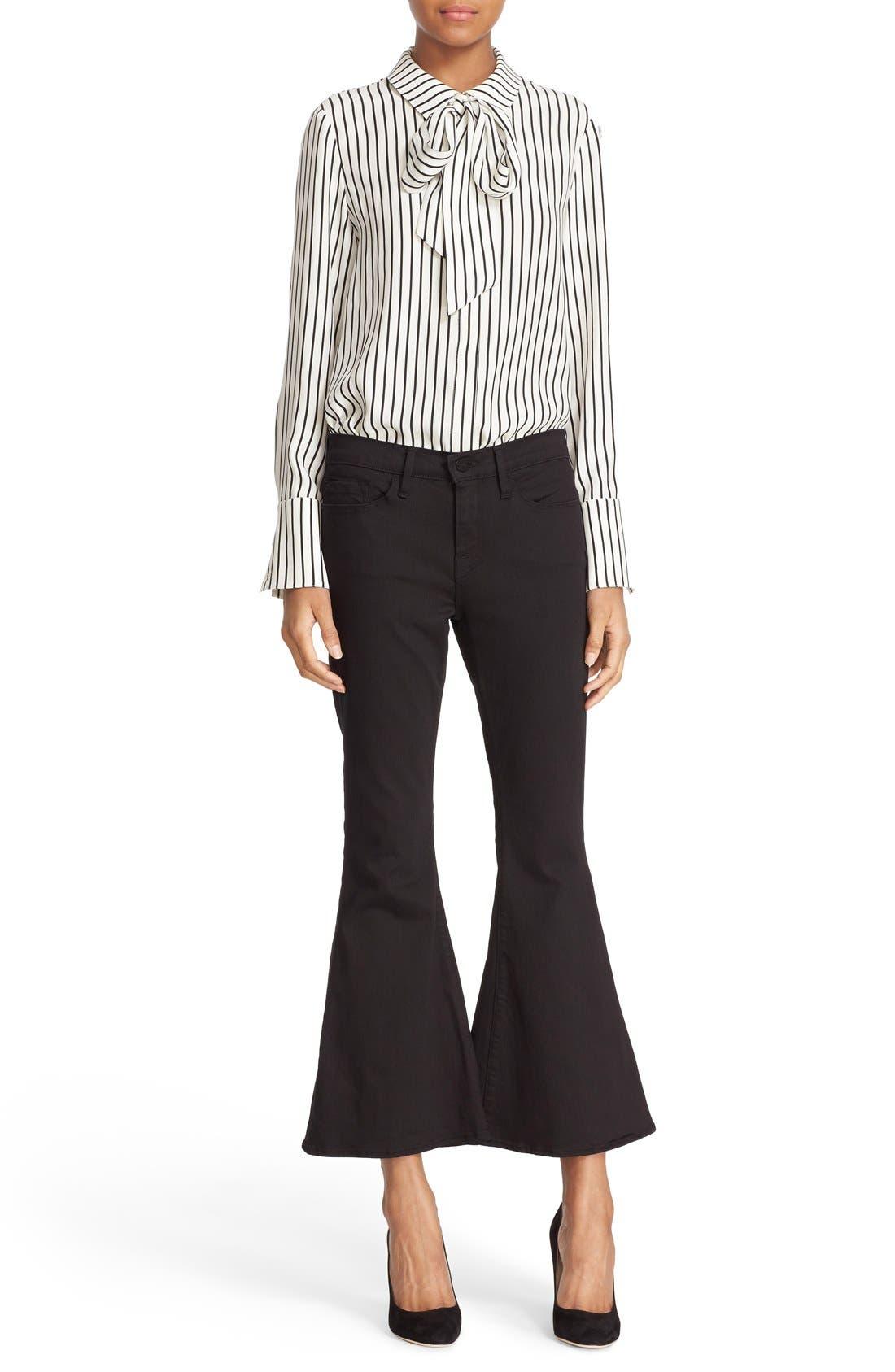 FRAME Tie Neck Stripe Silk Blouse