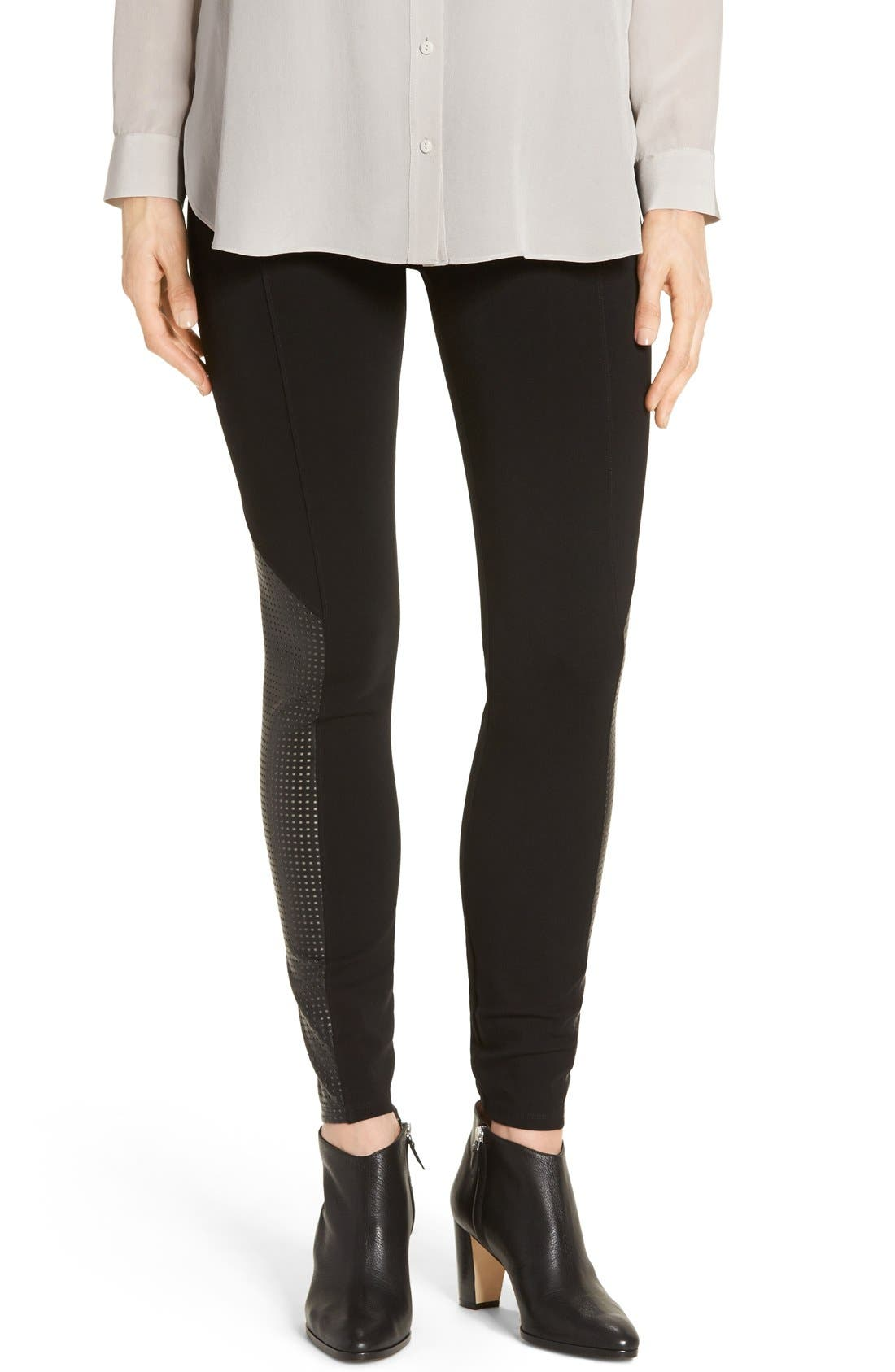 Alternate Image 1 Selected - SPANX® High Waist Perforated Panel Leggings